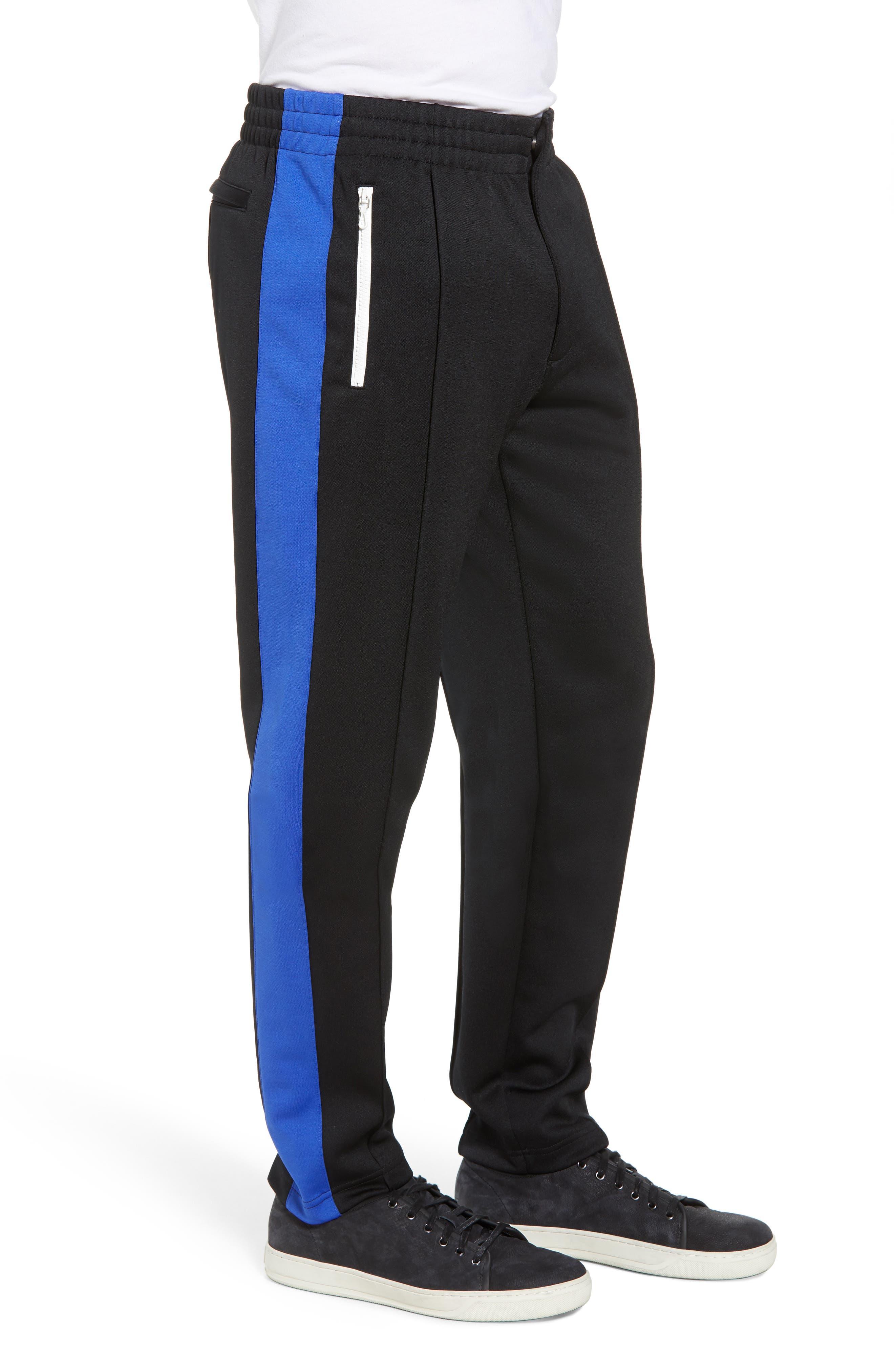 Stripe Track Pants,                             Alternate thumbnail 5, color,                             Blue/ White/ Black