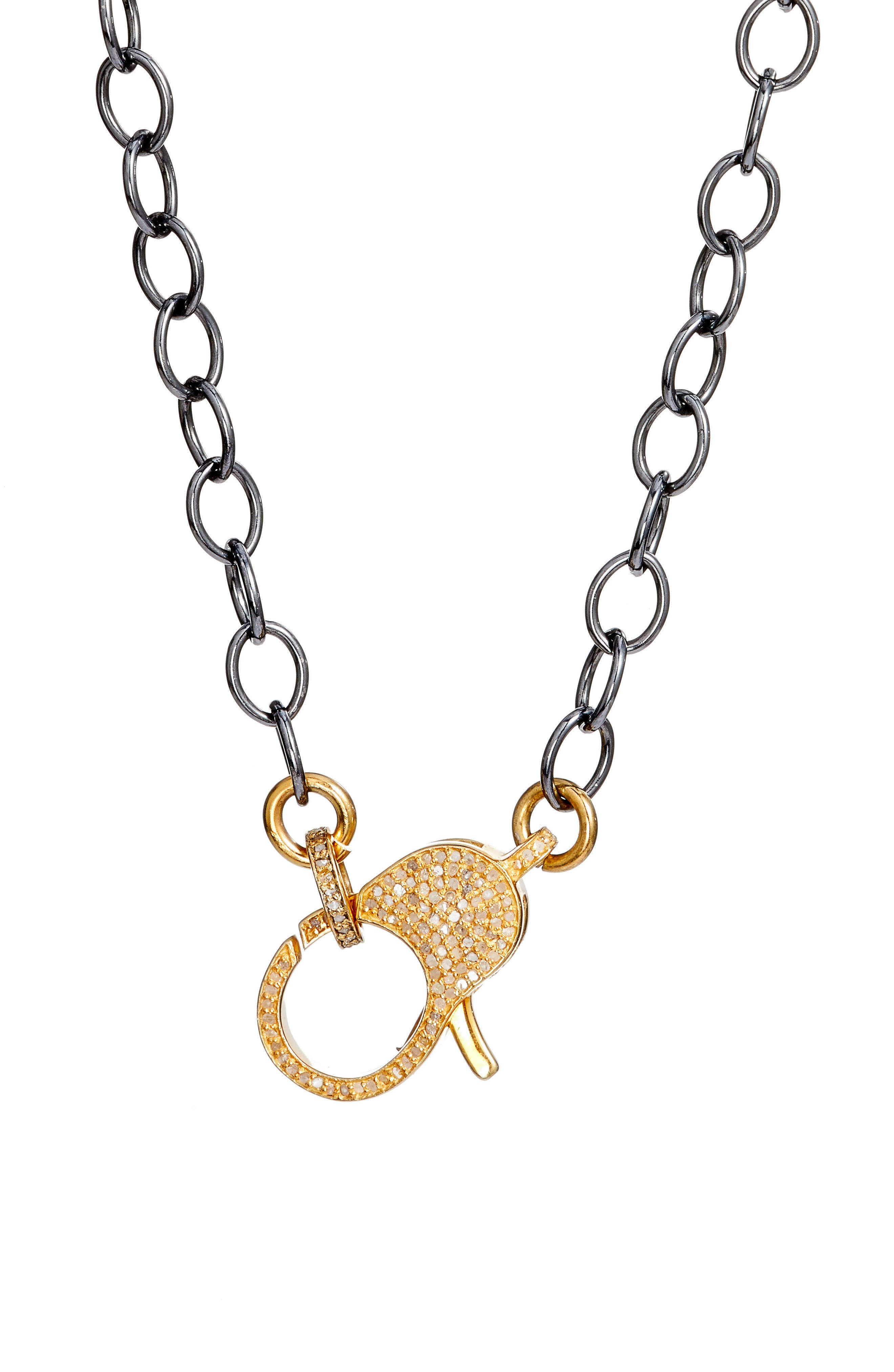 Jane Basch Diamond Pavé Lock Chain Necklace,                             Alternate thumbnail 2, color,                             Gold/ Black