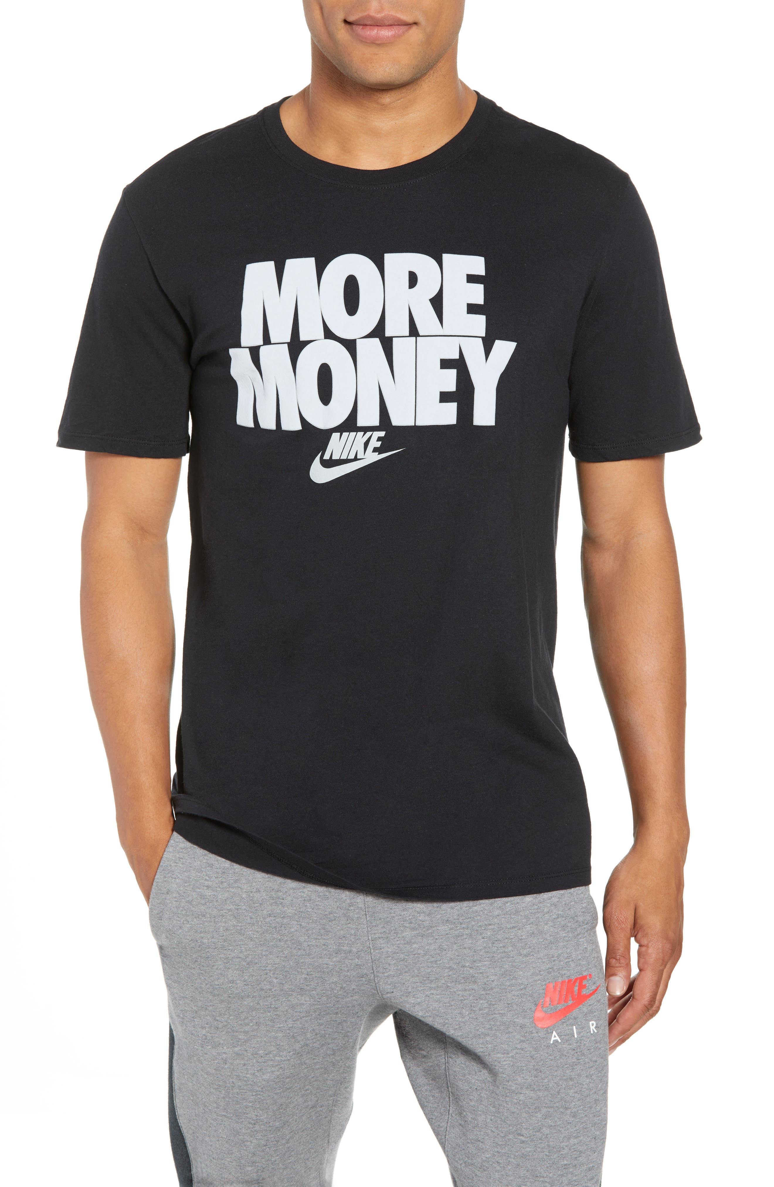 Sportswear More Money T-Shirt,                             Main thumbnail 1, color,                             Black/ Metallic Silver