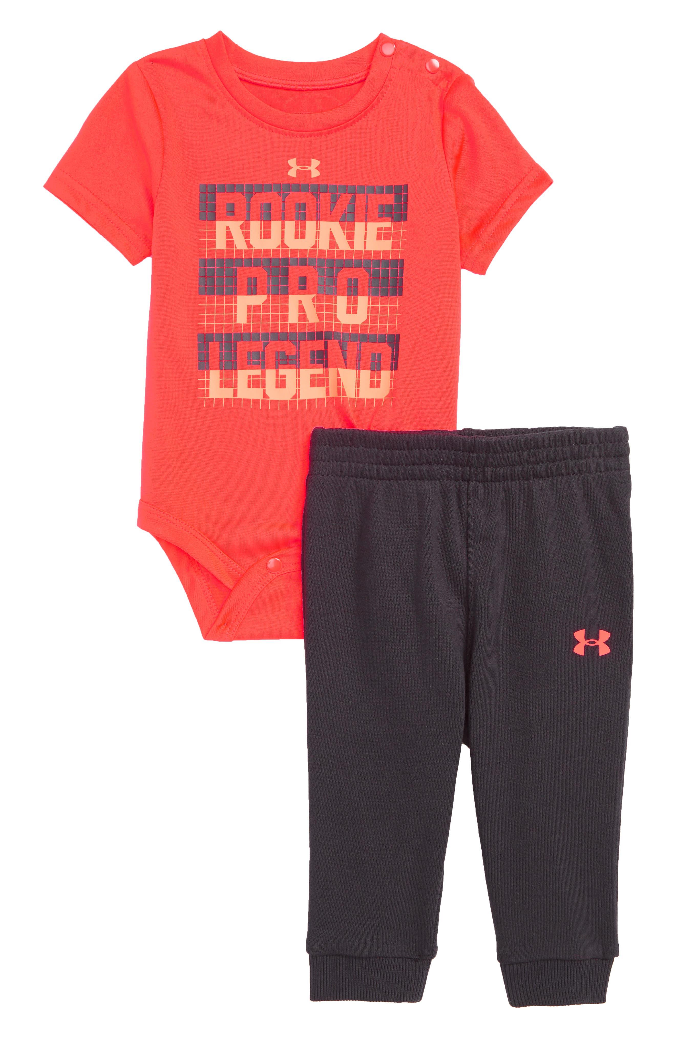 Rookie Pro Bodysuit & Sweatpants Set,                             Main thumbnail 1, color,                             Neon Coral