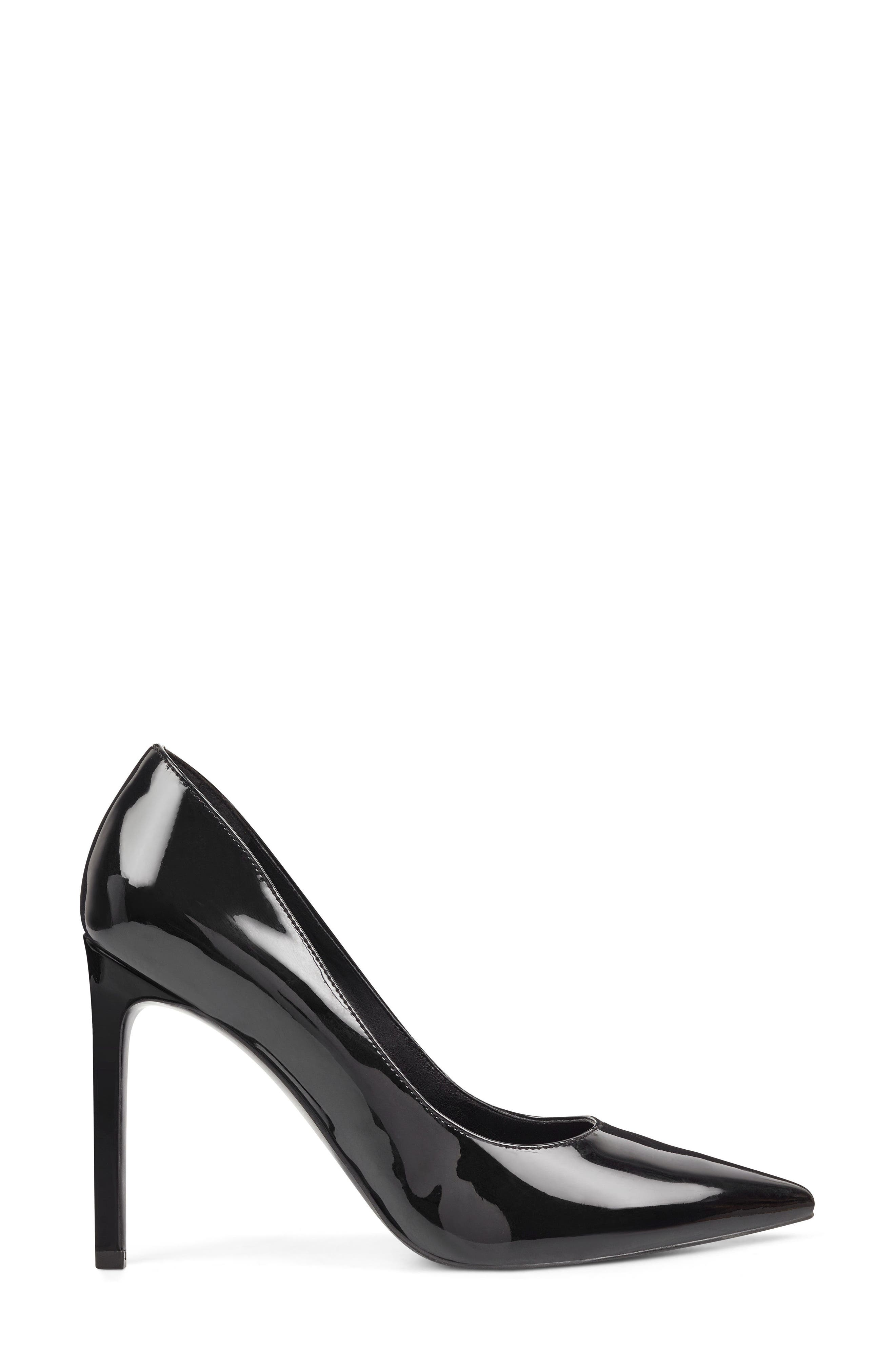 'Tatiana' Pointy Toe Pump,                             Alternate thumbnail 6, color,                             Black Sleek Patent