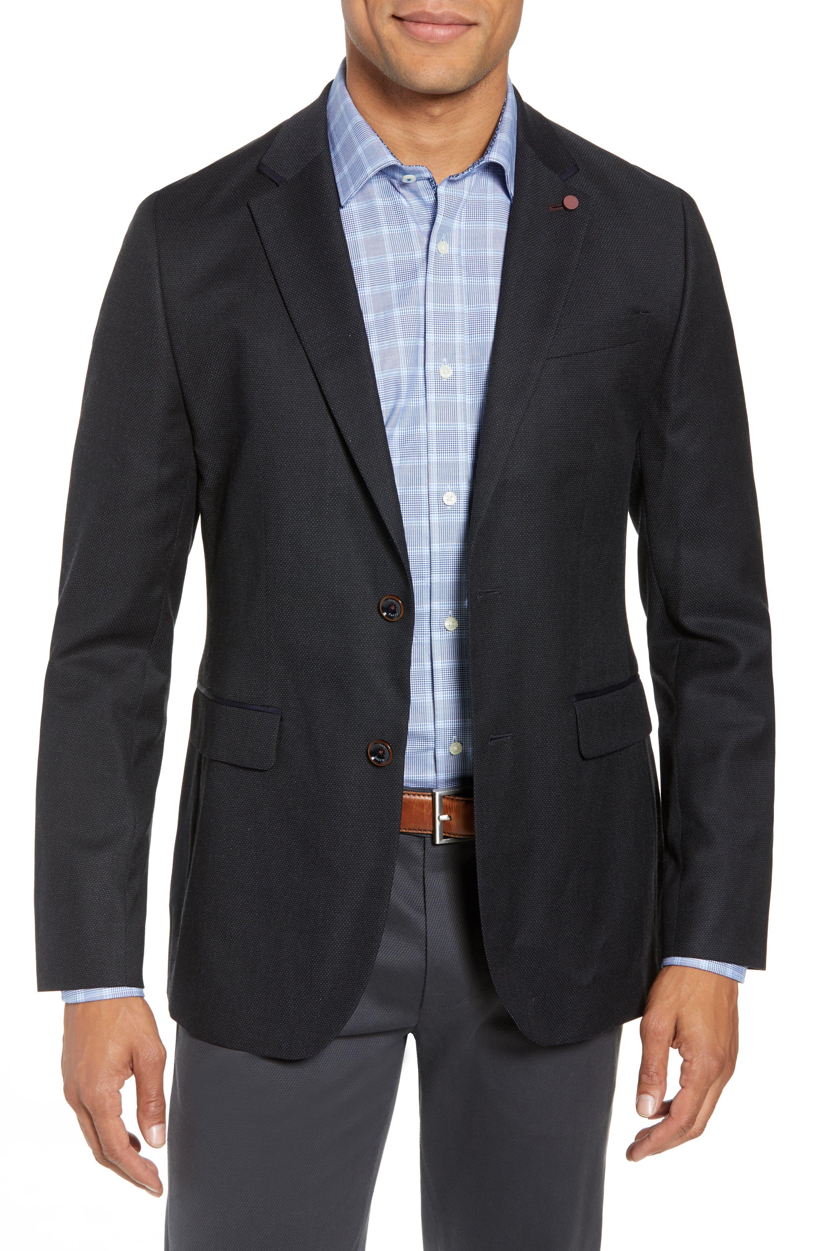 Hazlnut Trim Fit Sport Coat,                         Main,                         color, Navy