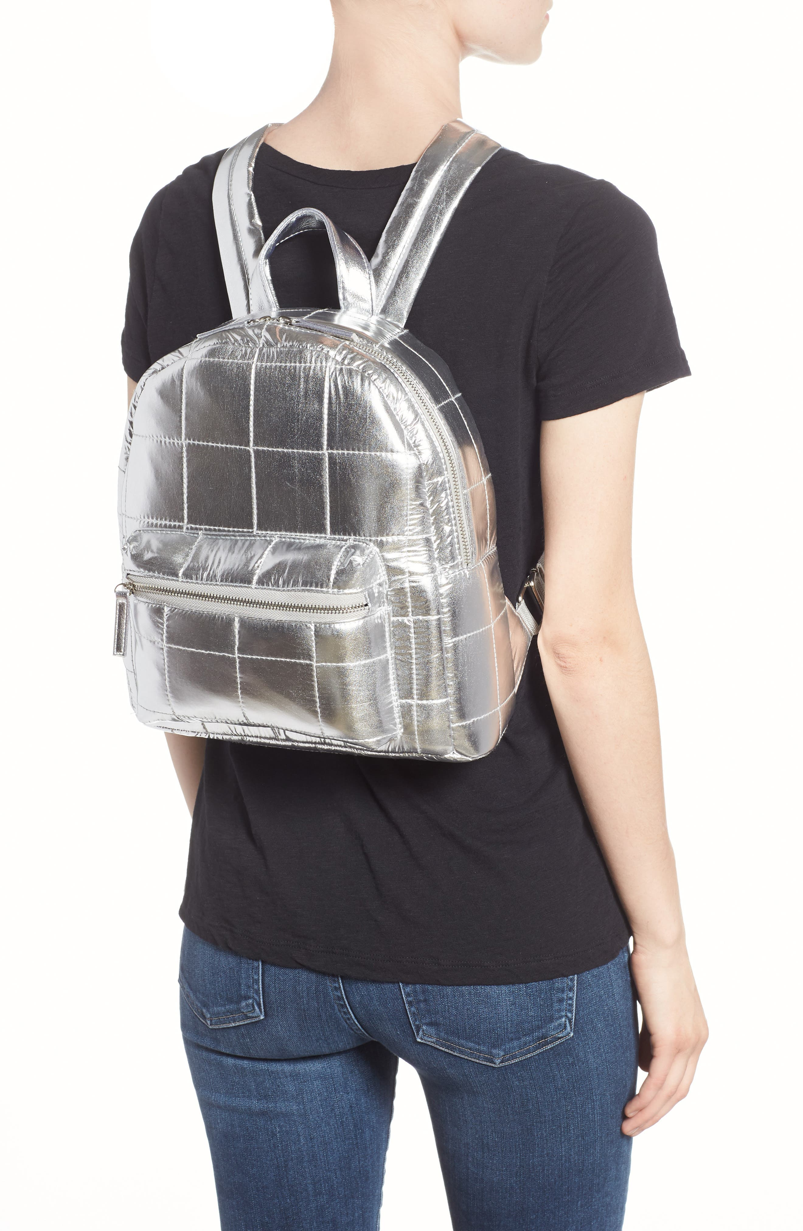 Mini Metallic Puffer Backpack,                             Alternate thumbnail 2, color,                             Silver