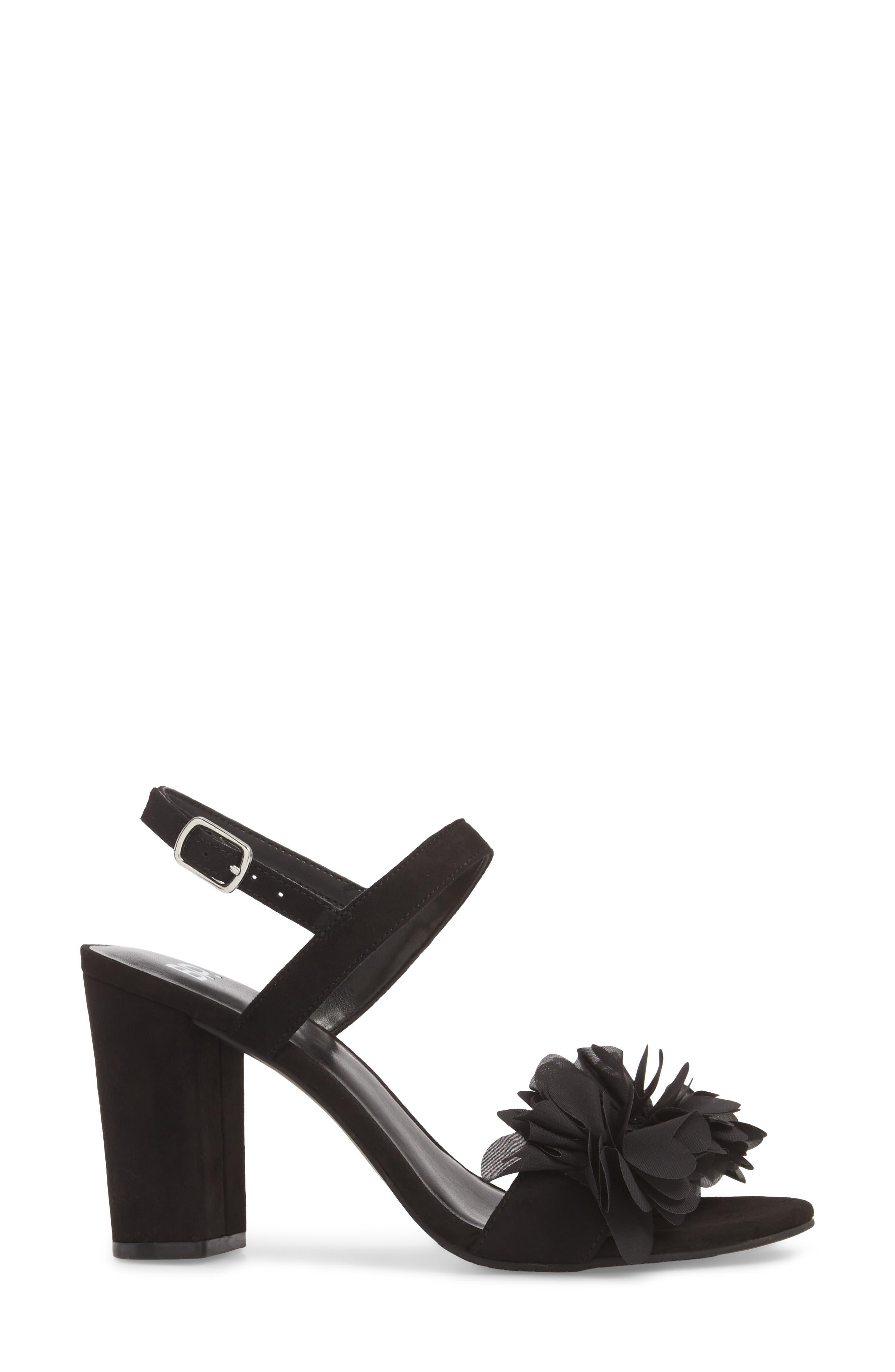 Lula Block Heel Slingback Sandal,                             Alternate thumbnail 3, color,                             Black Flowers Fabric