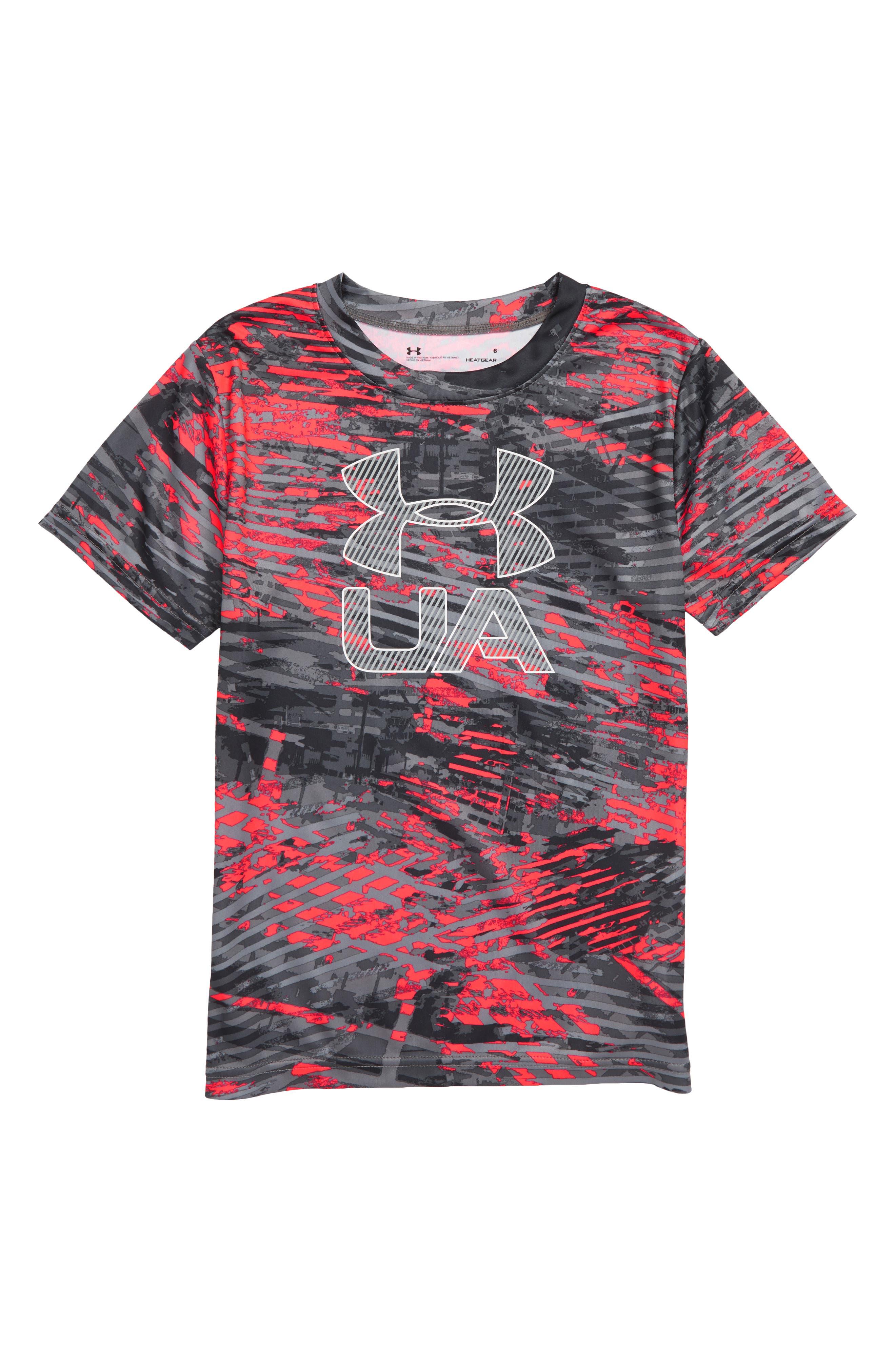Vertigo Logo HeatGear<sup>®</sup> Graphic Shirt,                         Main,                         color, Neon Coral