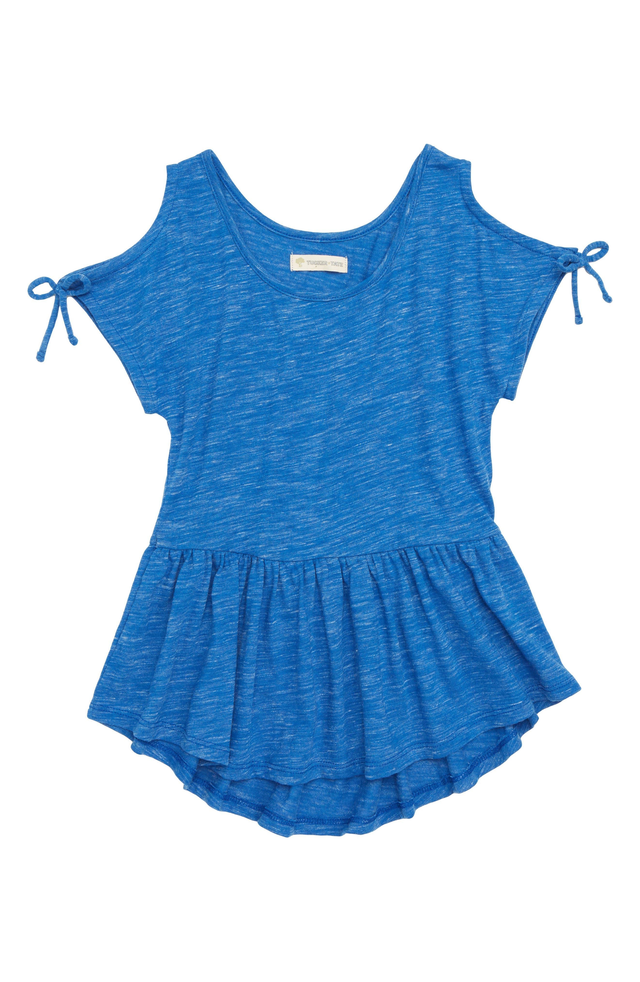 Tie Sleeve Peplum Tee,                         Main,                         color, Blue Monaco Heather