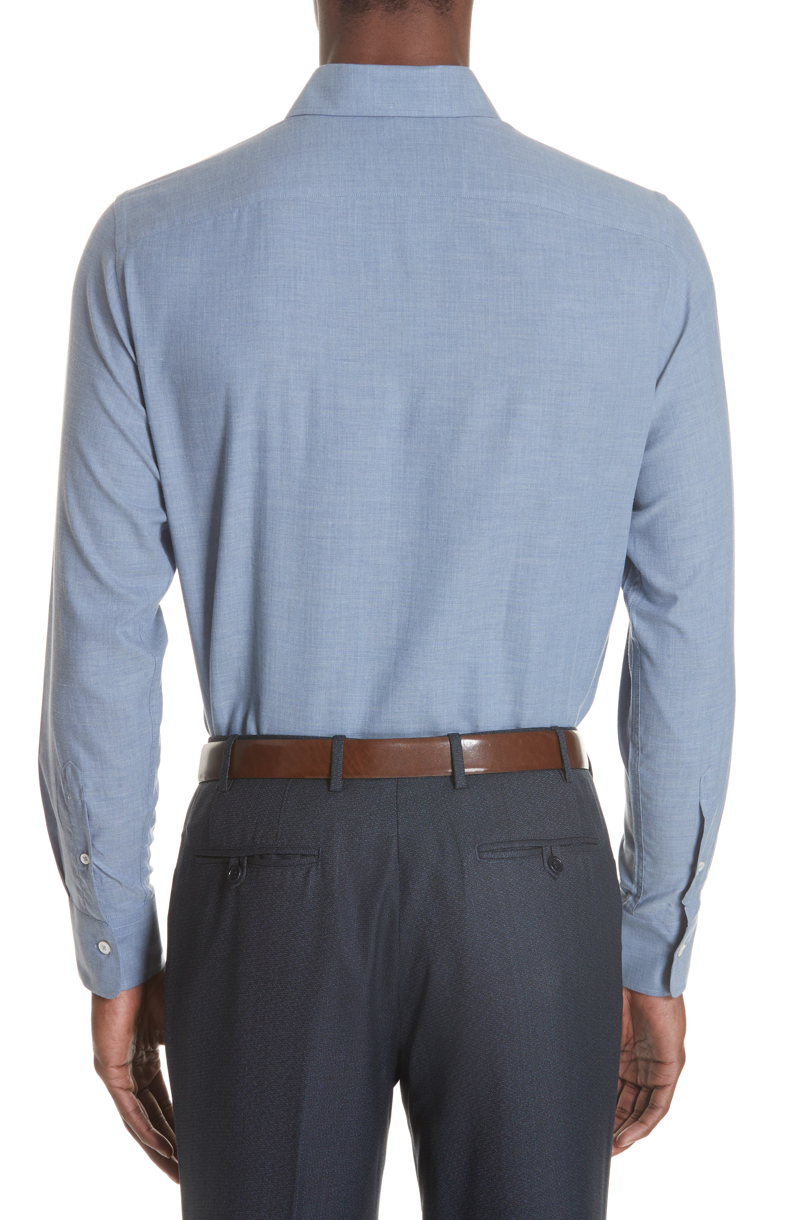 Classic Fit Herringbone Dress Shirt,                             Alternate thumbnail 4, color,                             Light Blue