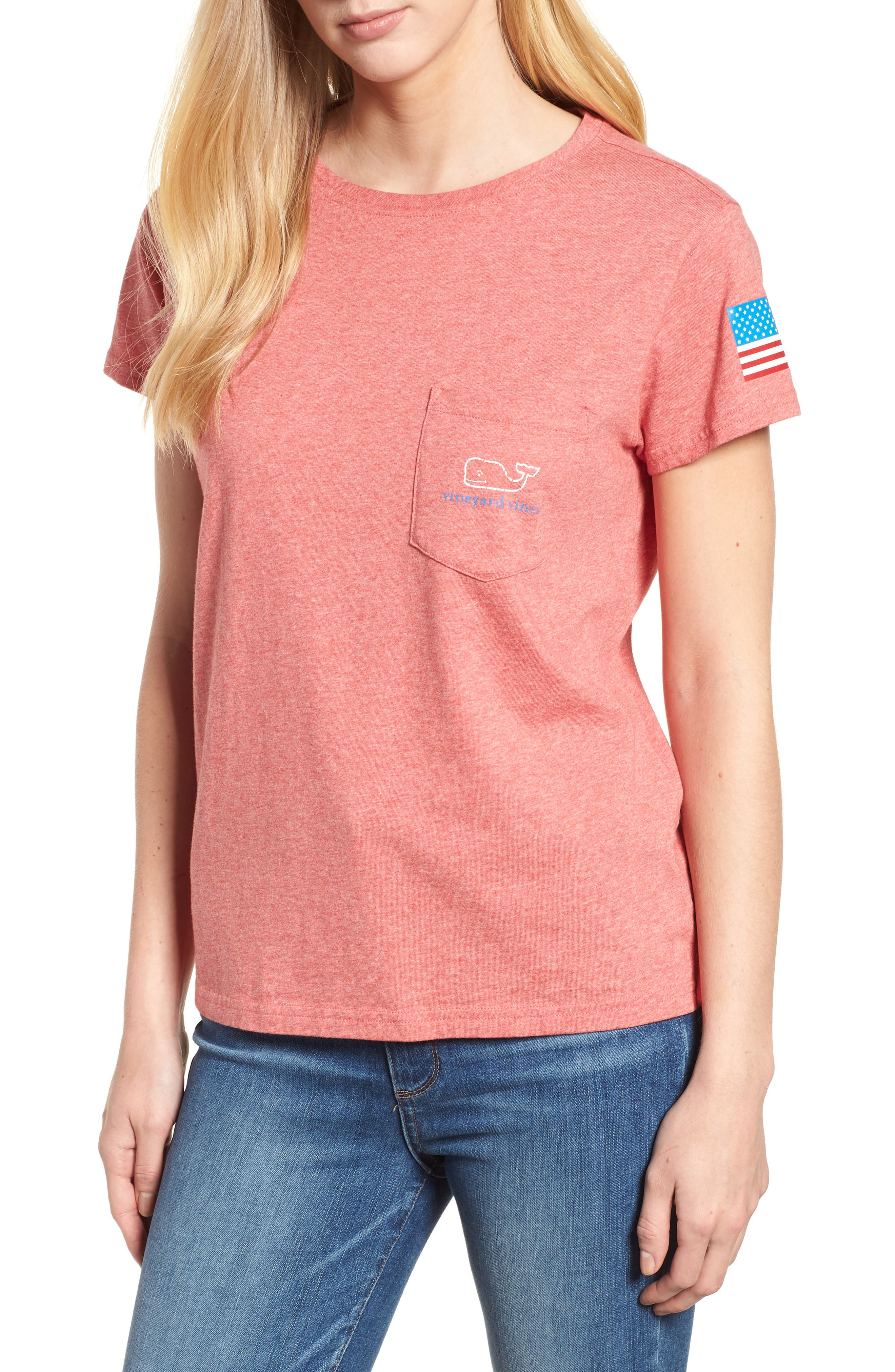 Vintage Whale Logo Tee,                         Main,                         color, Jetty Red