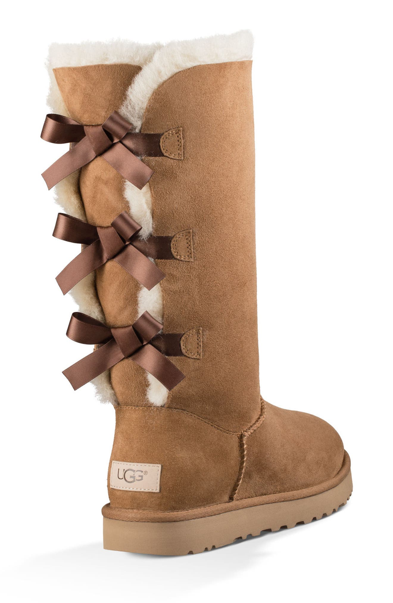 Bailey Bow Tall II Boot,                             Alternate thumbnail 5, color,                             Chestnut Suede