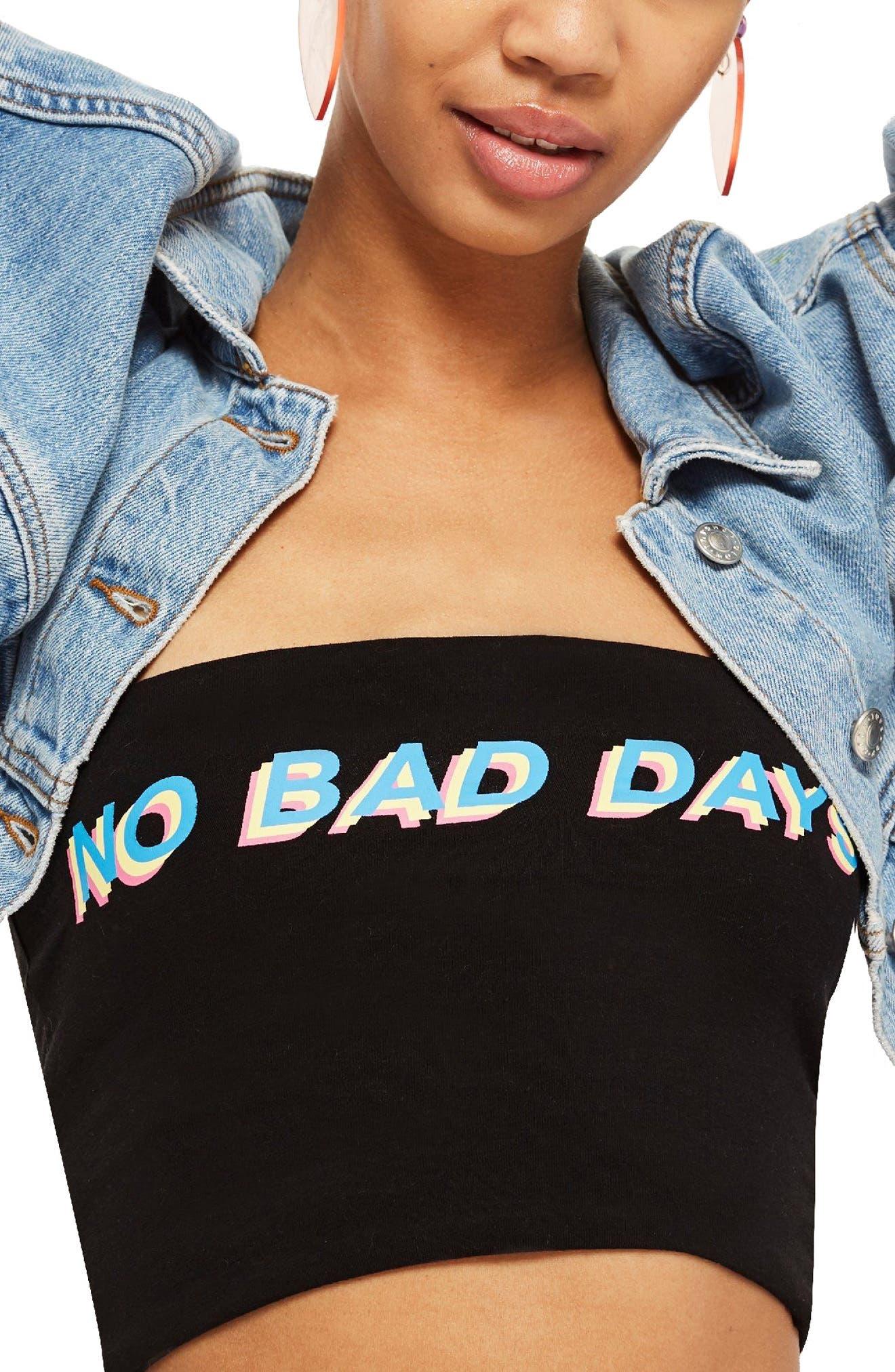 No Bad Days Bandeau Top,                             Main thumbnail 1, color,                             Black Multi