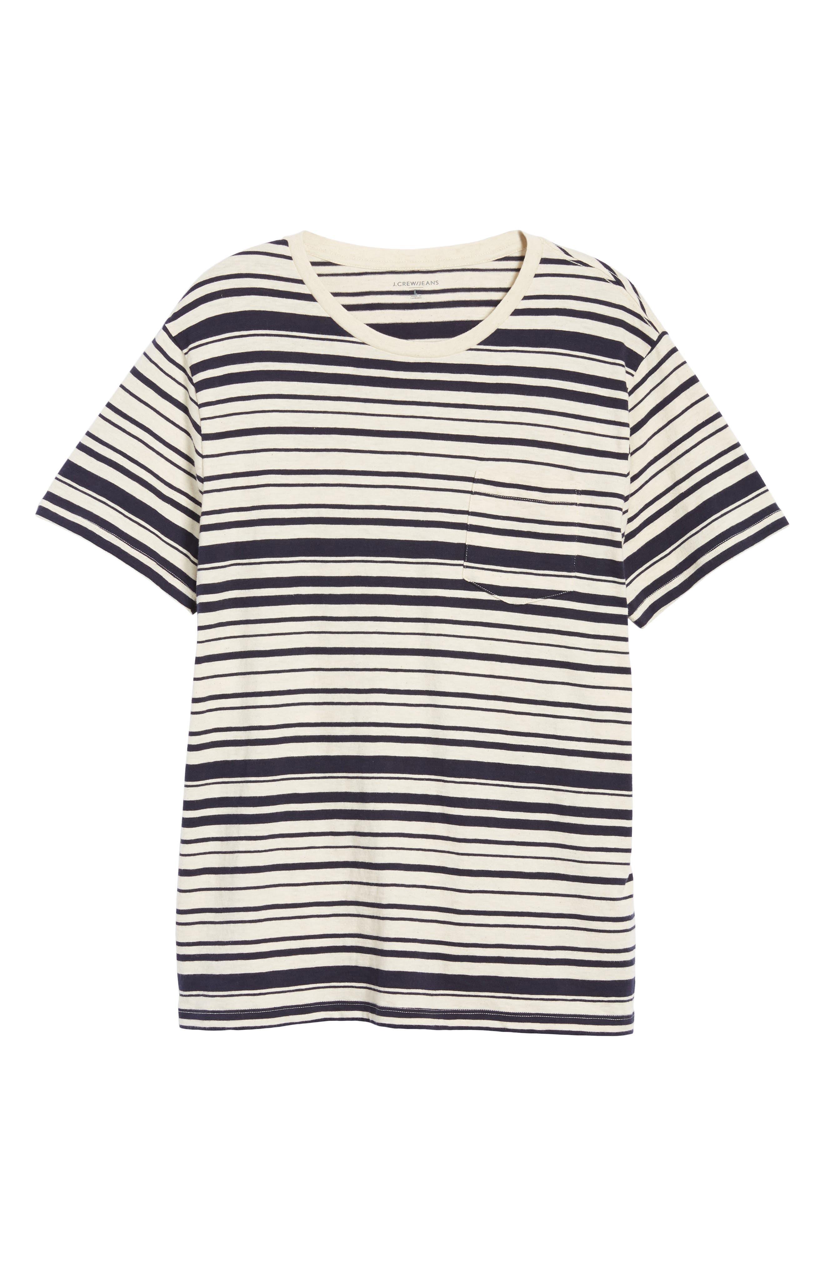 Variegated Stripe Slub Cotton T-Shirt,                             Alternate thumbnail 5, color,                             Ivory Navy