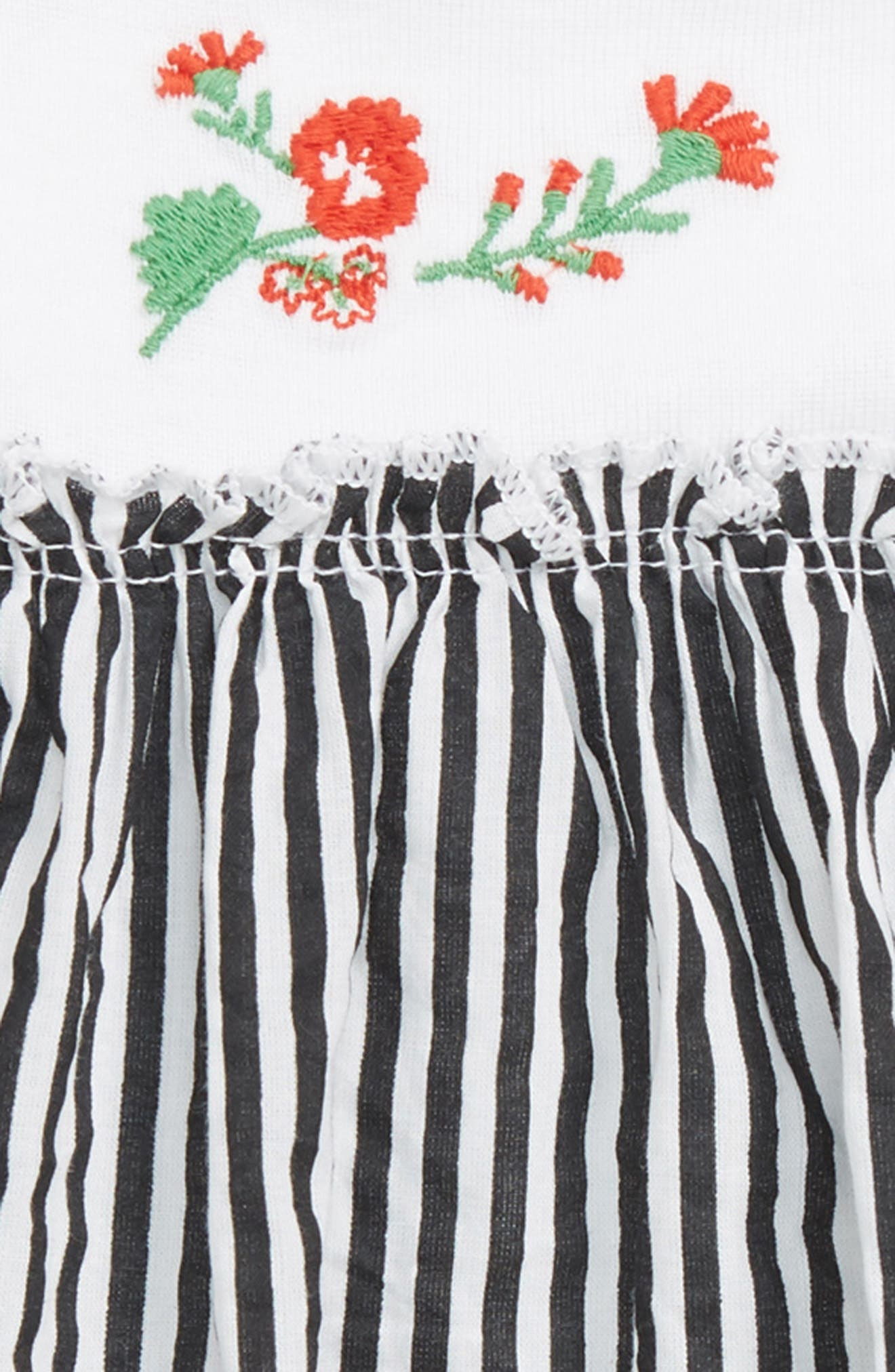 Embroidered Dress,                             Alternate thumbnail 2, color,                             White Mini Vertical Stripe