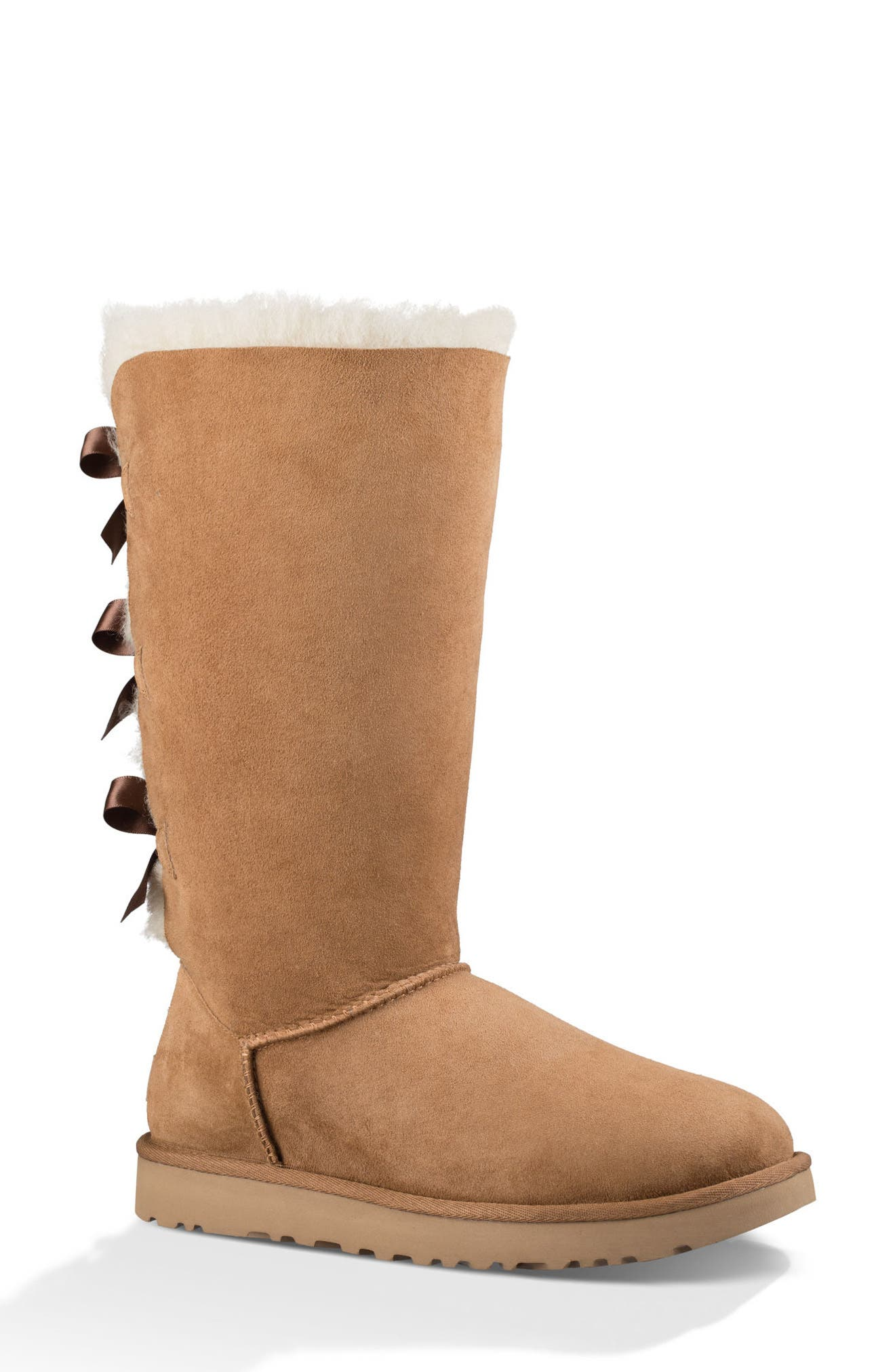 UGG BAILEY BOW TALL SHEARLING FUR BOOT, CHESTNUT