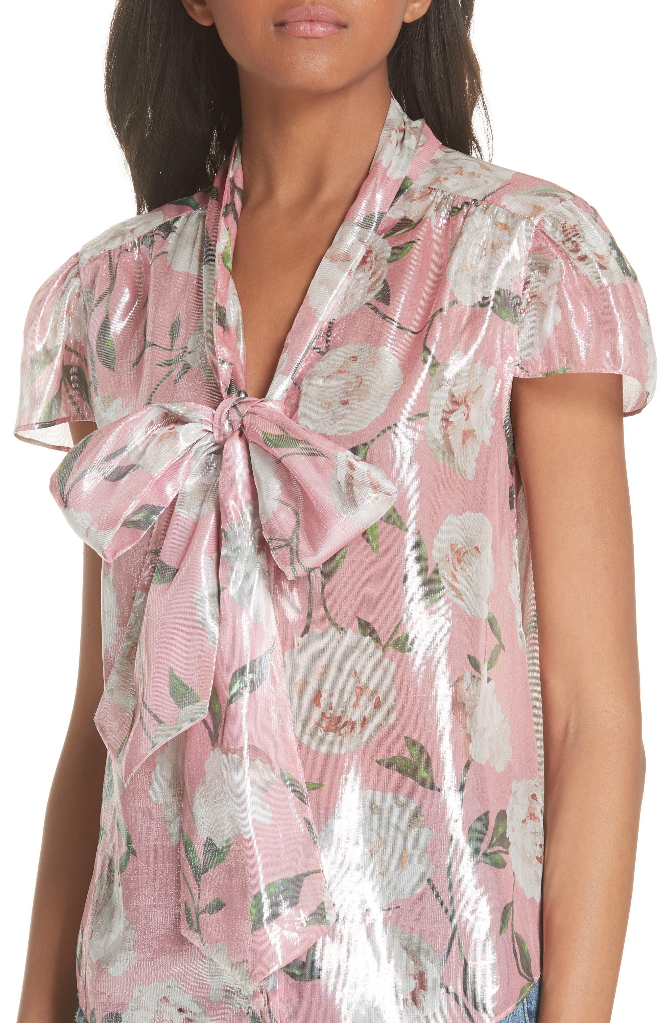 Jeannie Bow Collar Silk Blend Top,                             Alternate thumbnail 4, color,                             Peony Garden Wall/ Bubblegum