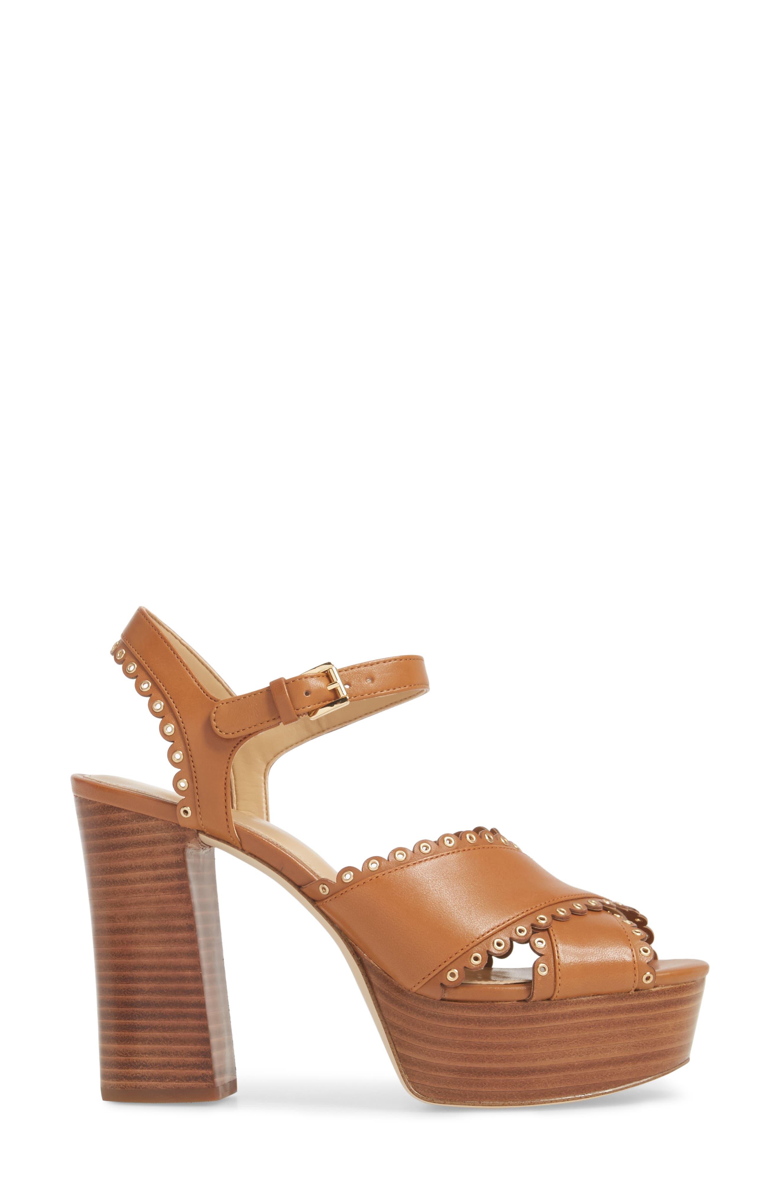 Jessie Platform Sandal,                             Alternate thumbnail 4, color,                             Acorn Leather