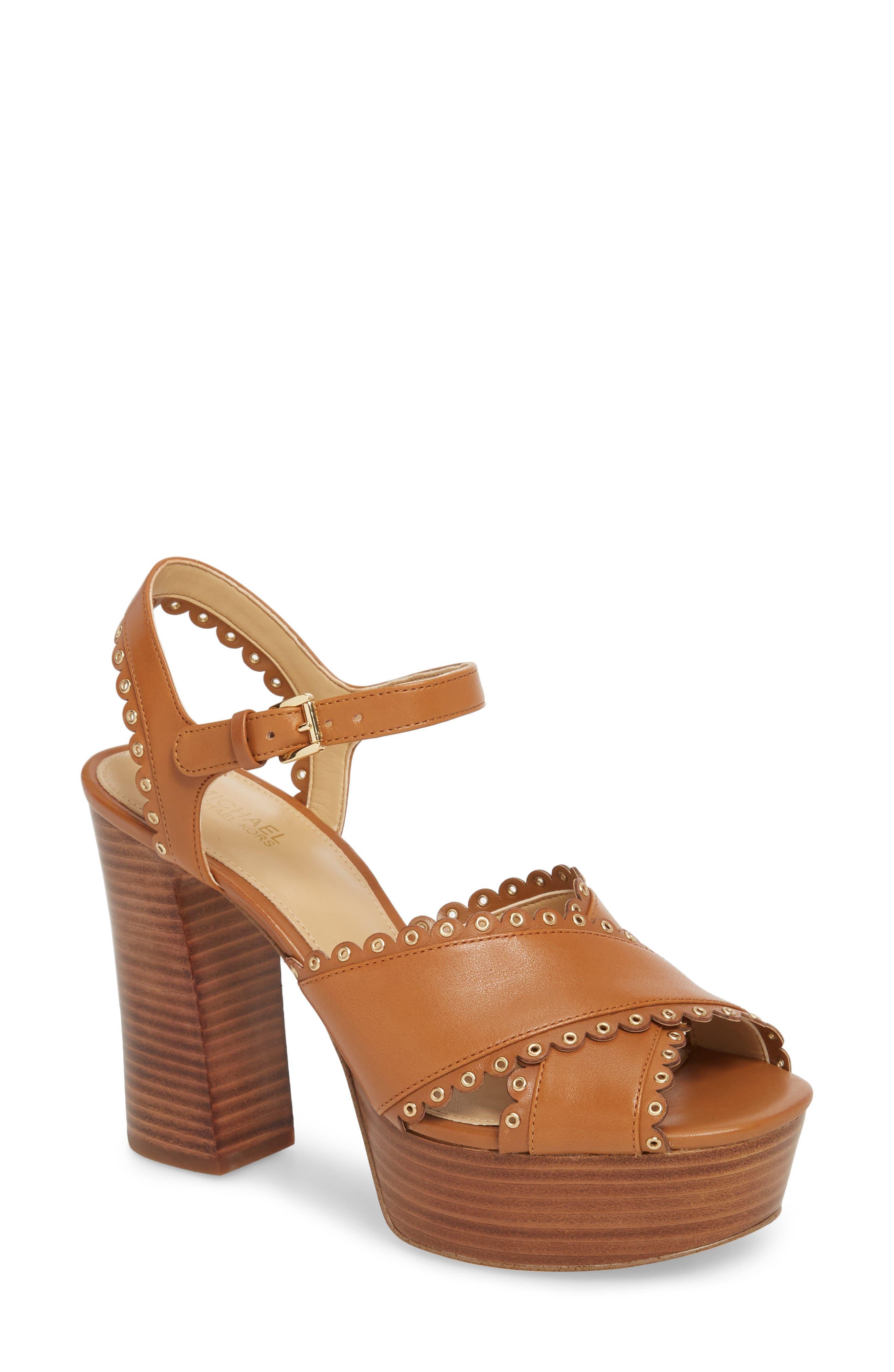Jessie Platform Sandal,                             Main thumbnail 1, color,                             Acorn Leather