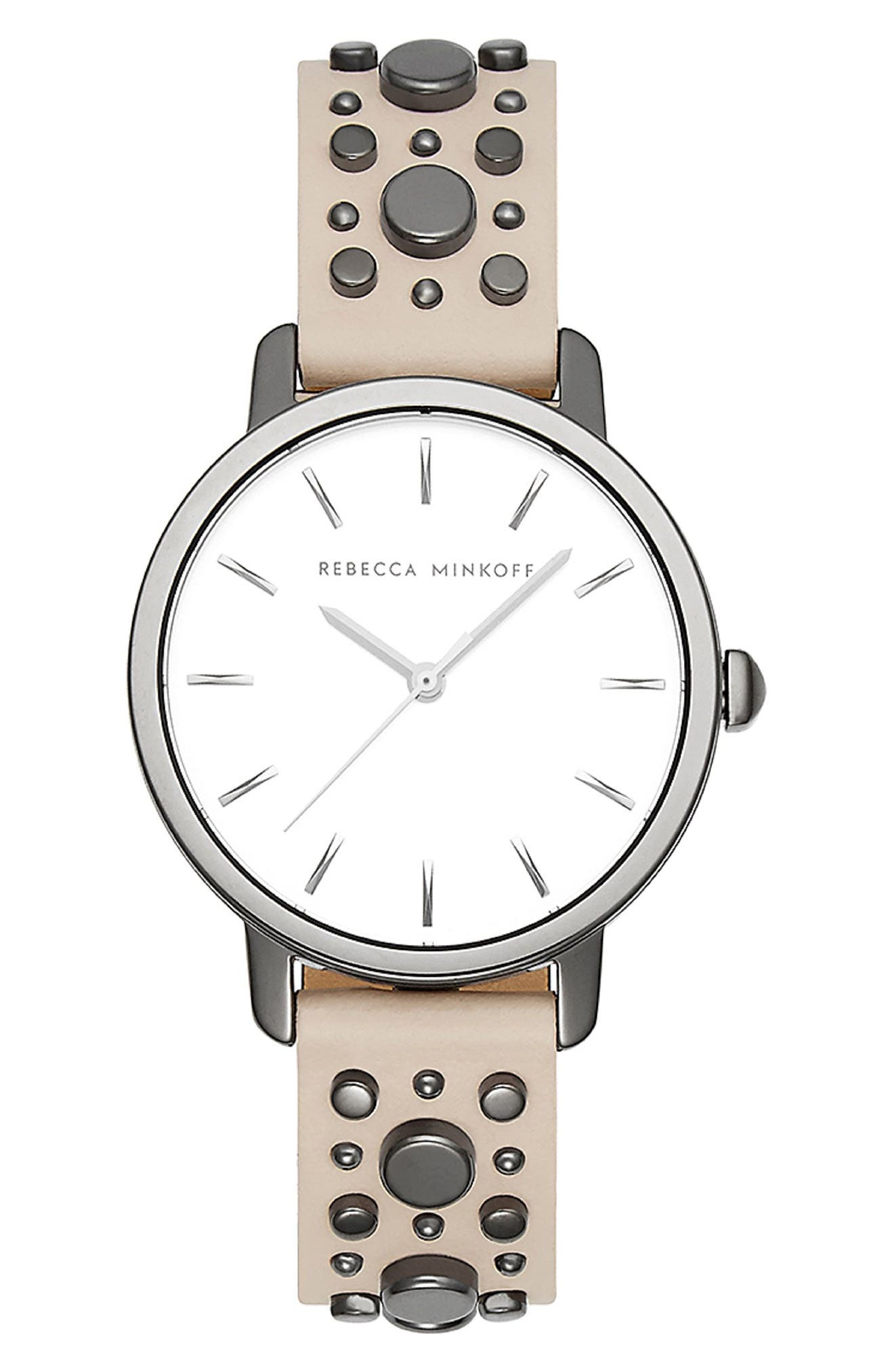 BFFL Studded Leather Strap Watch, 36mm,                         Main,                         color, Blush/ Silver White/ Grey