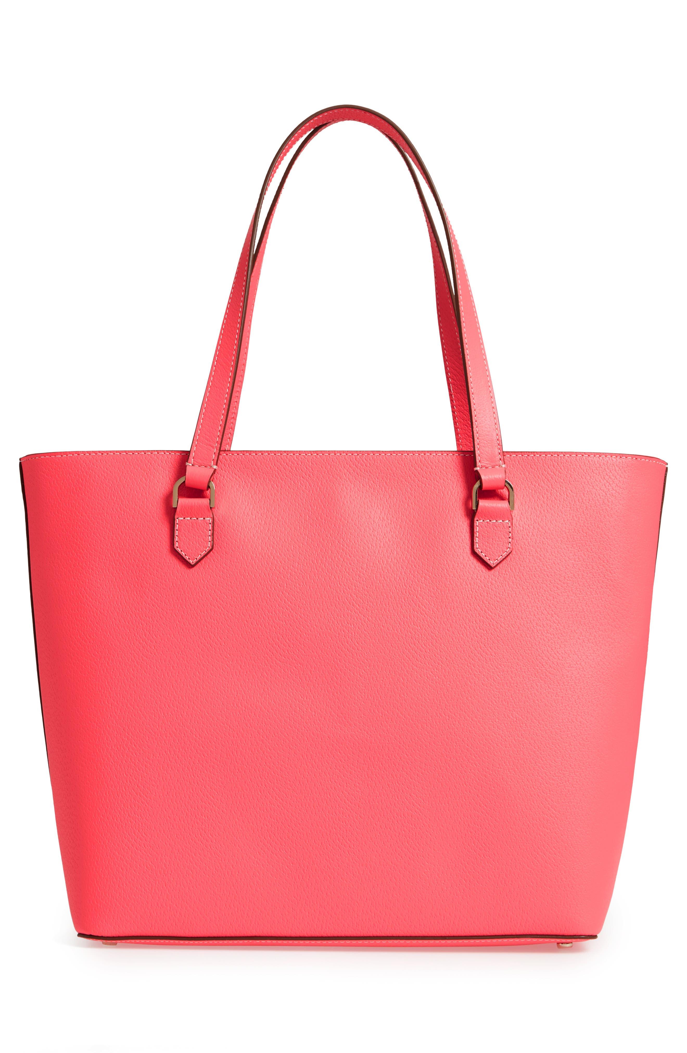 thompson street - kimberly leather tote,                             Alternate thumbnail 3, color,                             Bright Flamingo