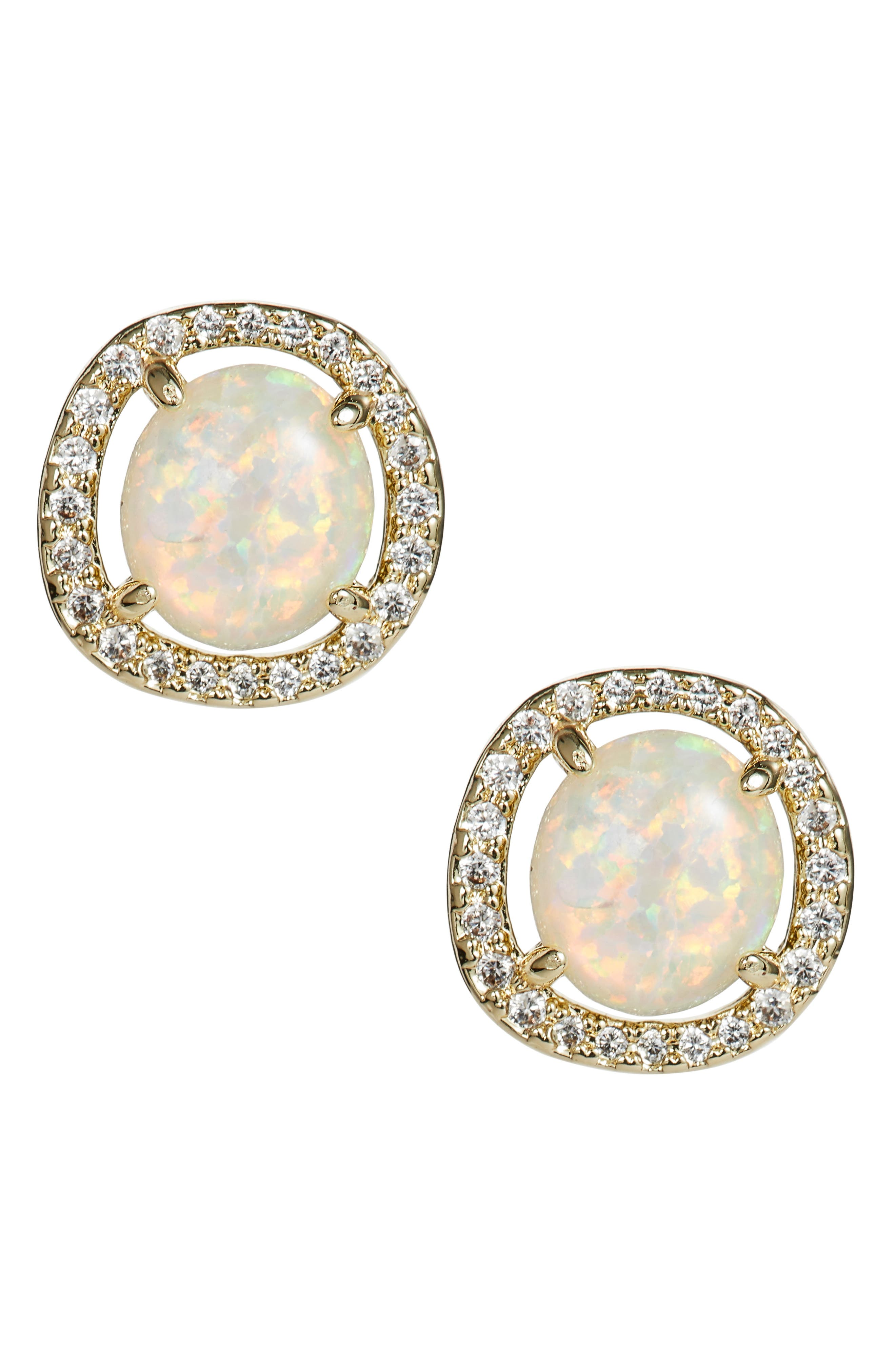 Sarah Louise Opal Stud Earrings, White Opal/ Gold