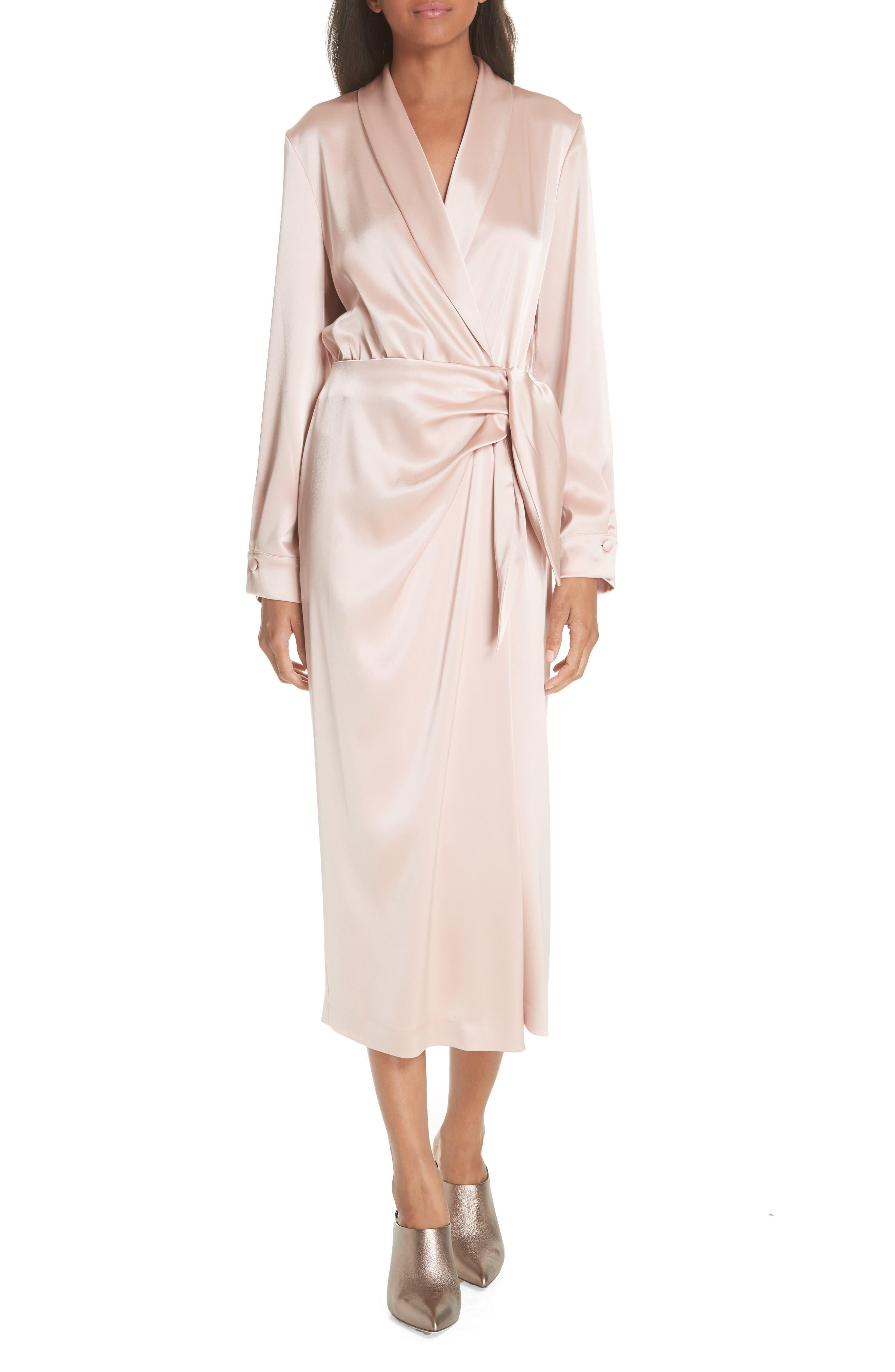 Ezra Satin Wrap Dress,                         Main,                         color, Desert Rose