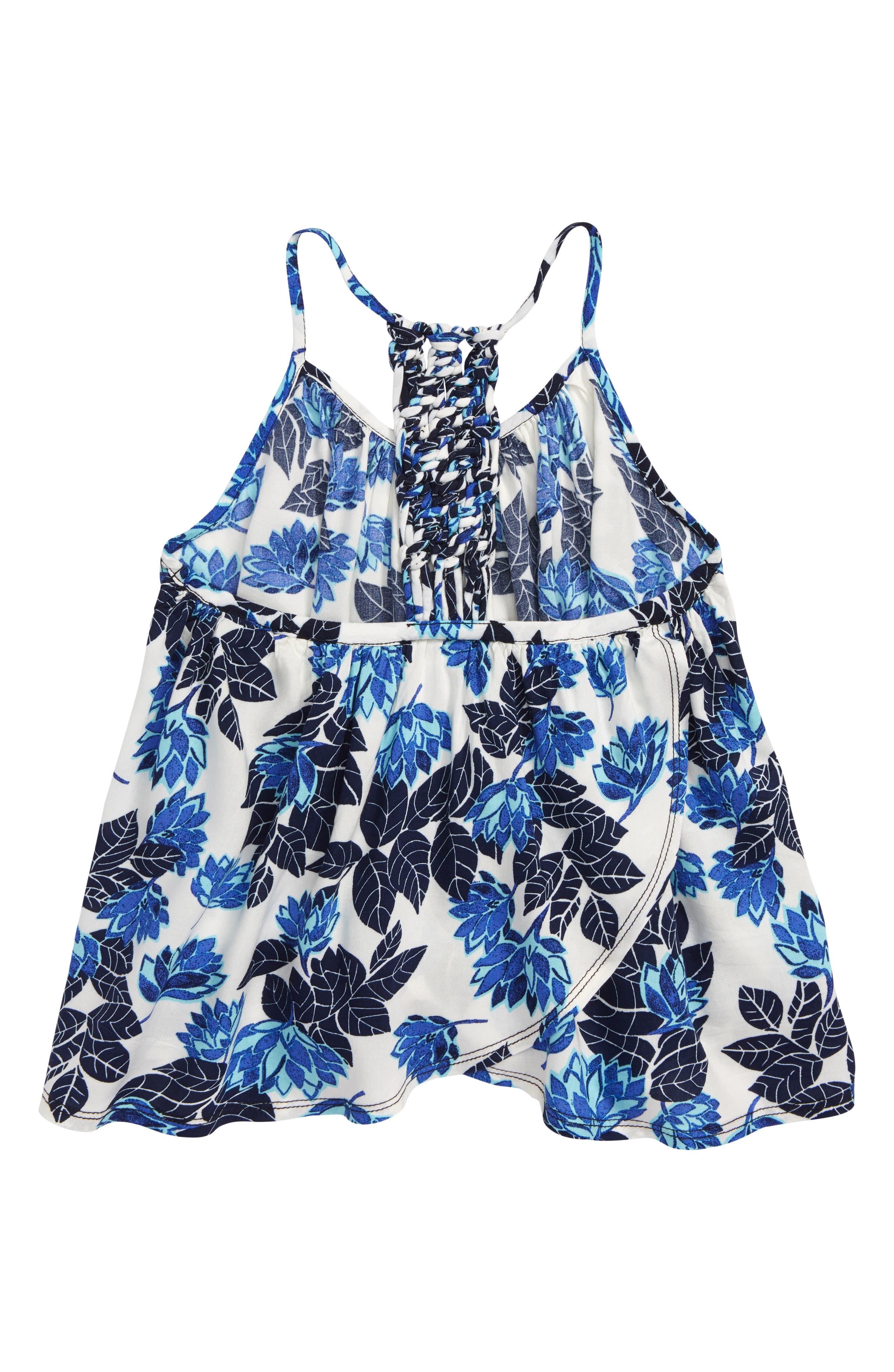 Floral Print Swing Tank,                             Alternate thumbnail 2, color,                             Ivory Egret- Blue Lotus Flower