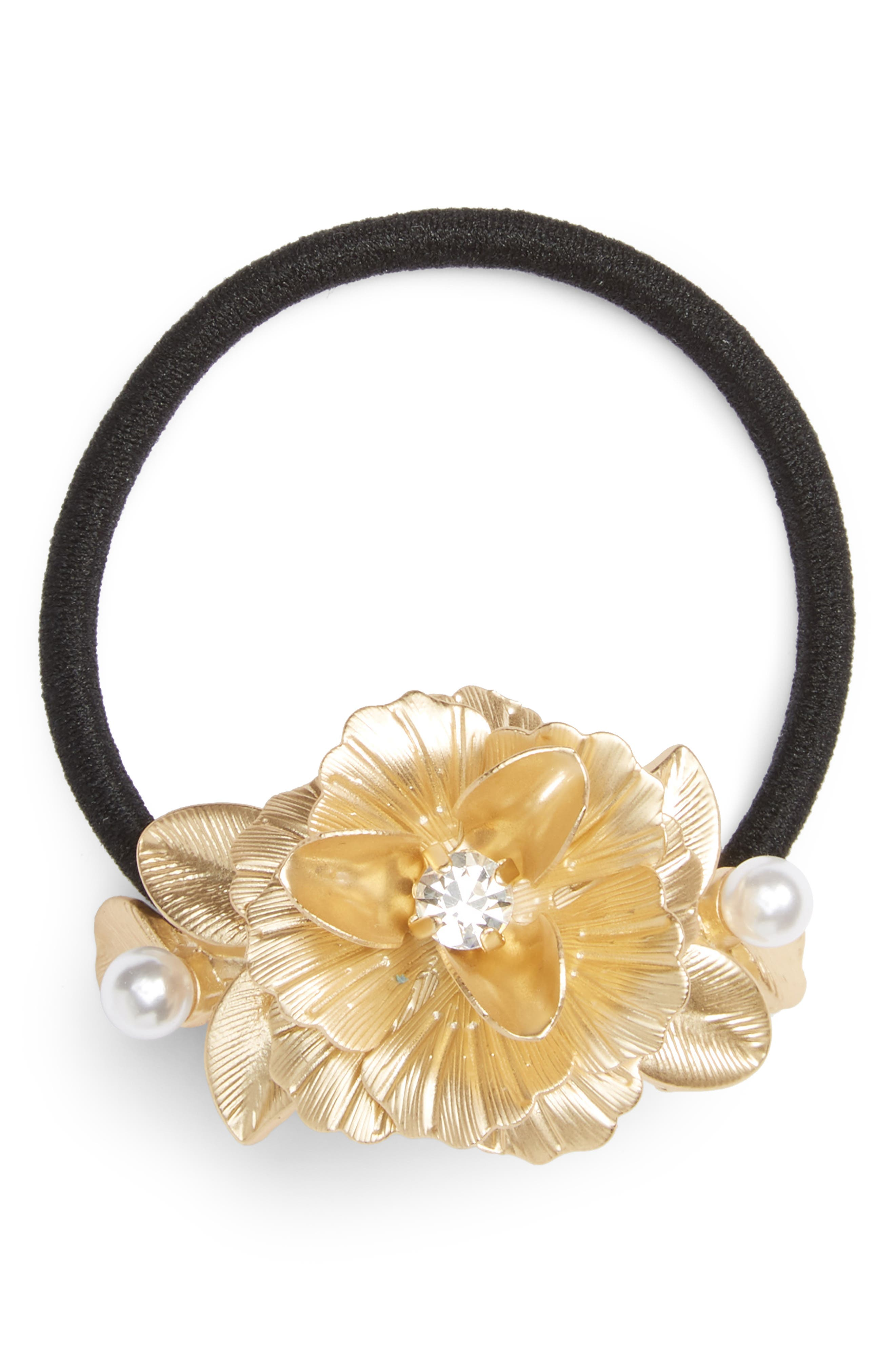 Flower Ponytail Holder,                             Main thumbnail 1, color,                             Gold