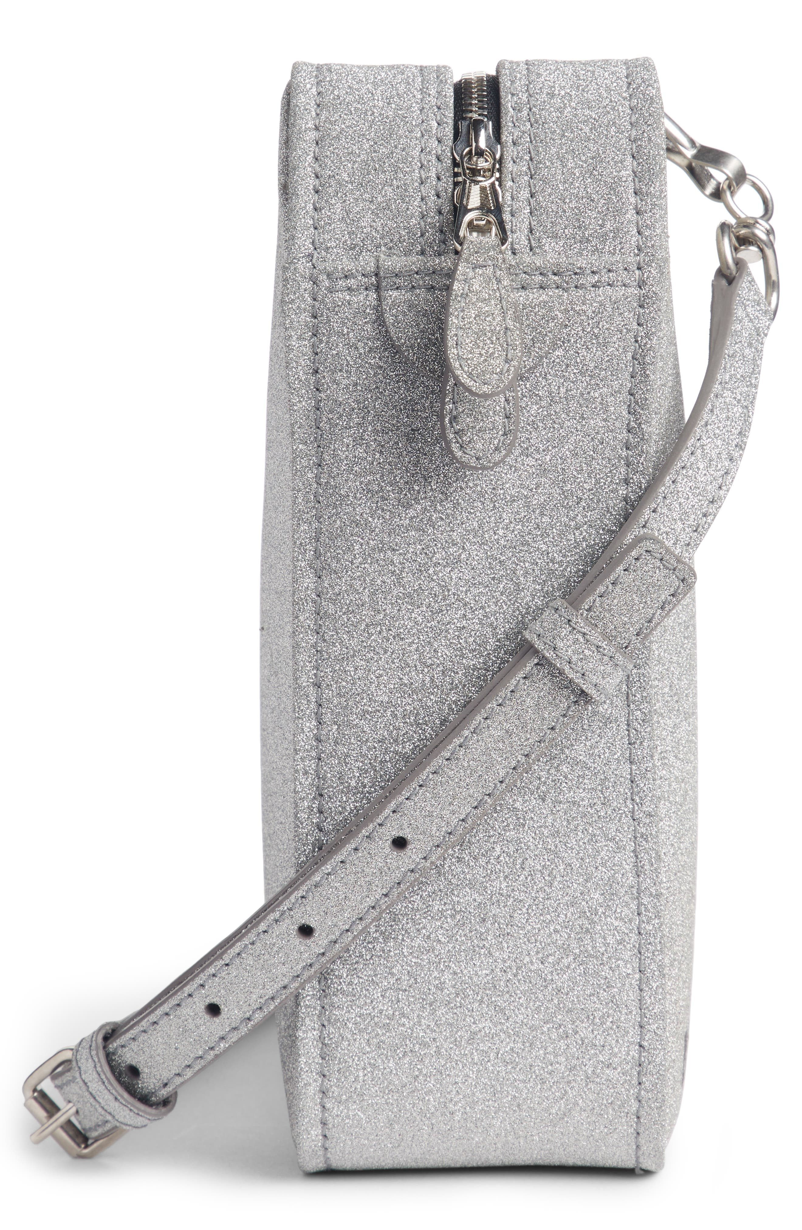 Extra Small Glitter Triangle Leather Bag,                             Alternate thumbnail 4, color,                             Argent/ Noir