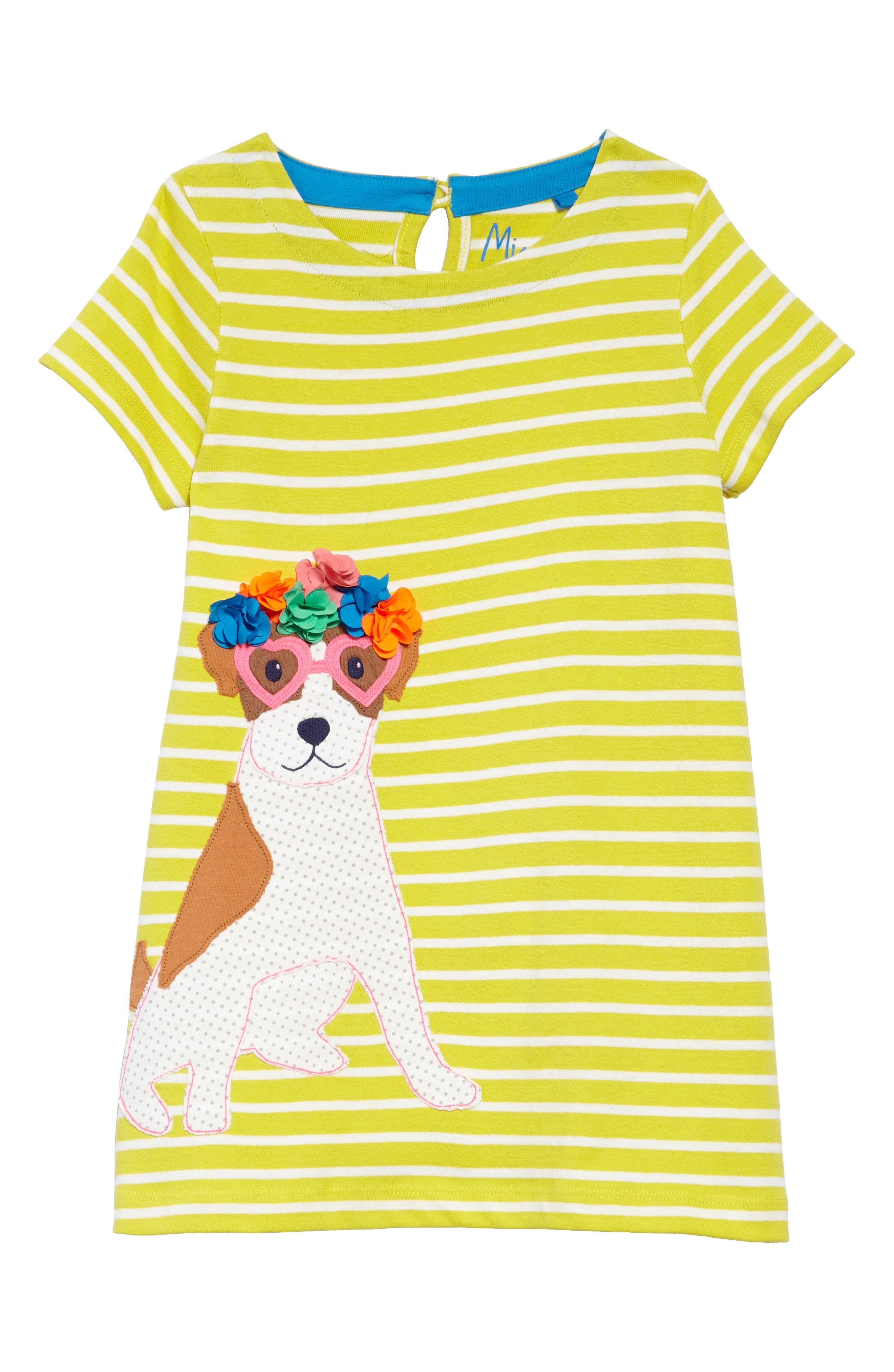 Dog Appliqué Striped Jersey Dress,                         Main,                         color, Yelivory/ Zest Yellow Sprout