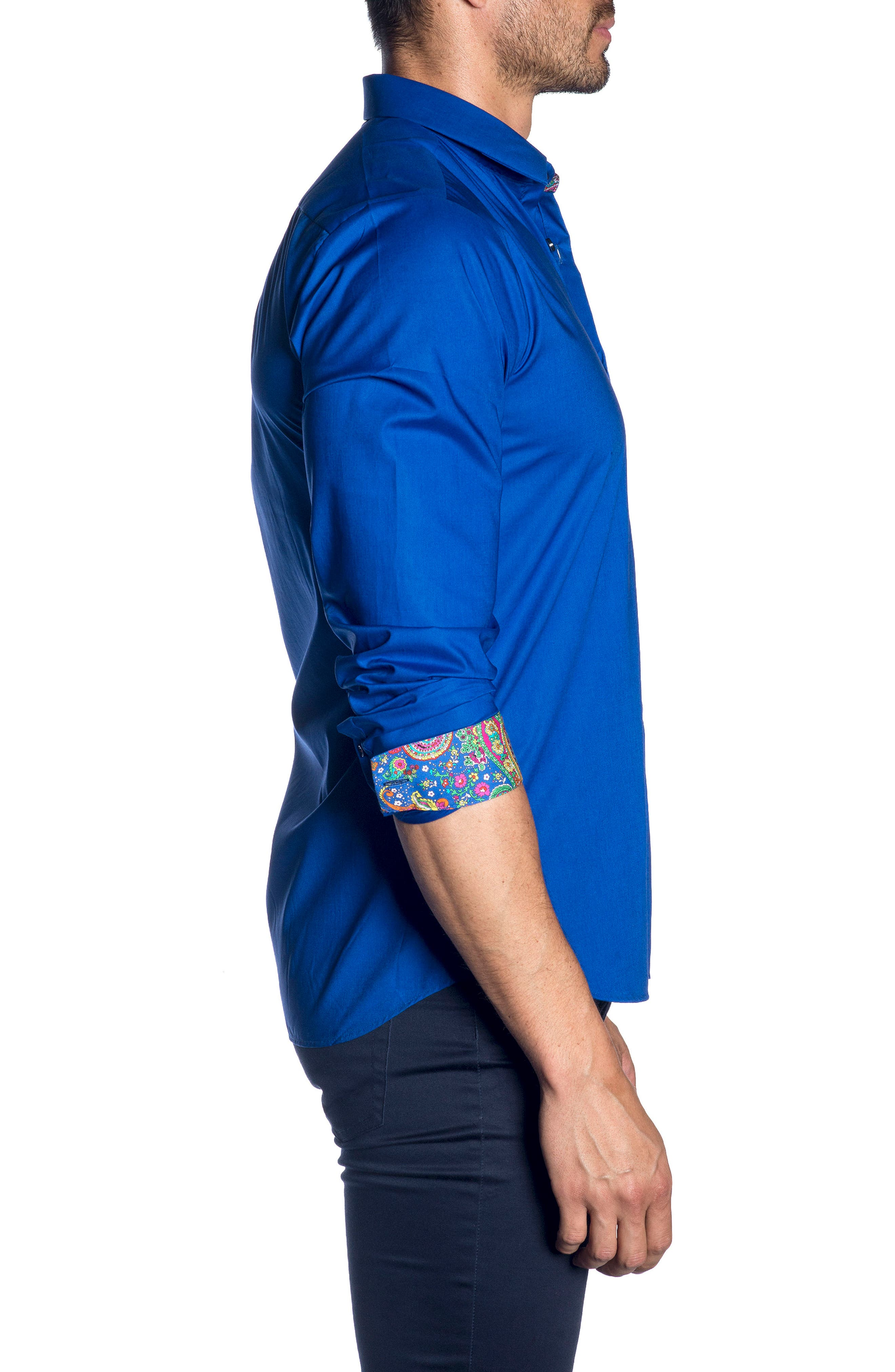 Trim Fit Sport Shirt,                             Alternate thumbnail 3, color,                             Blue