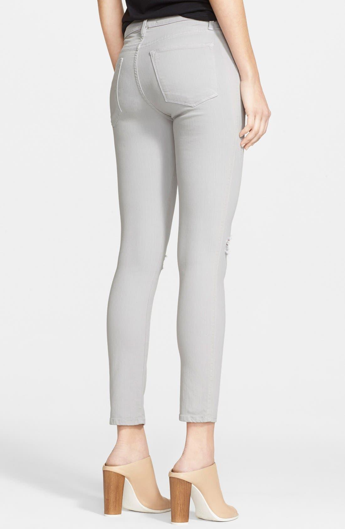 Alternate Image 2  - Frame Denim 'Le High Skinny Rip' Destroyed Jeans (Putty)