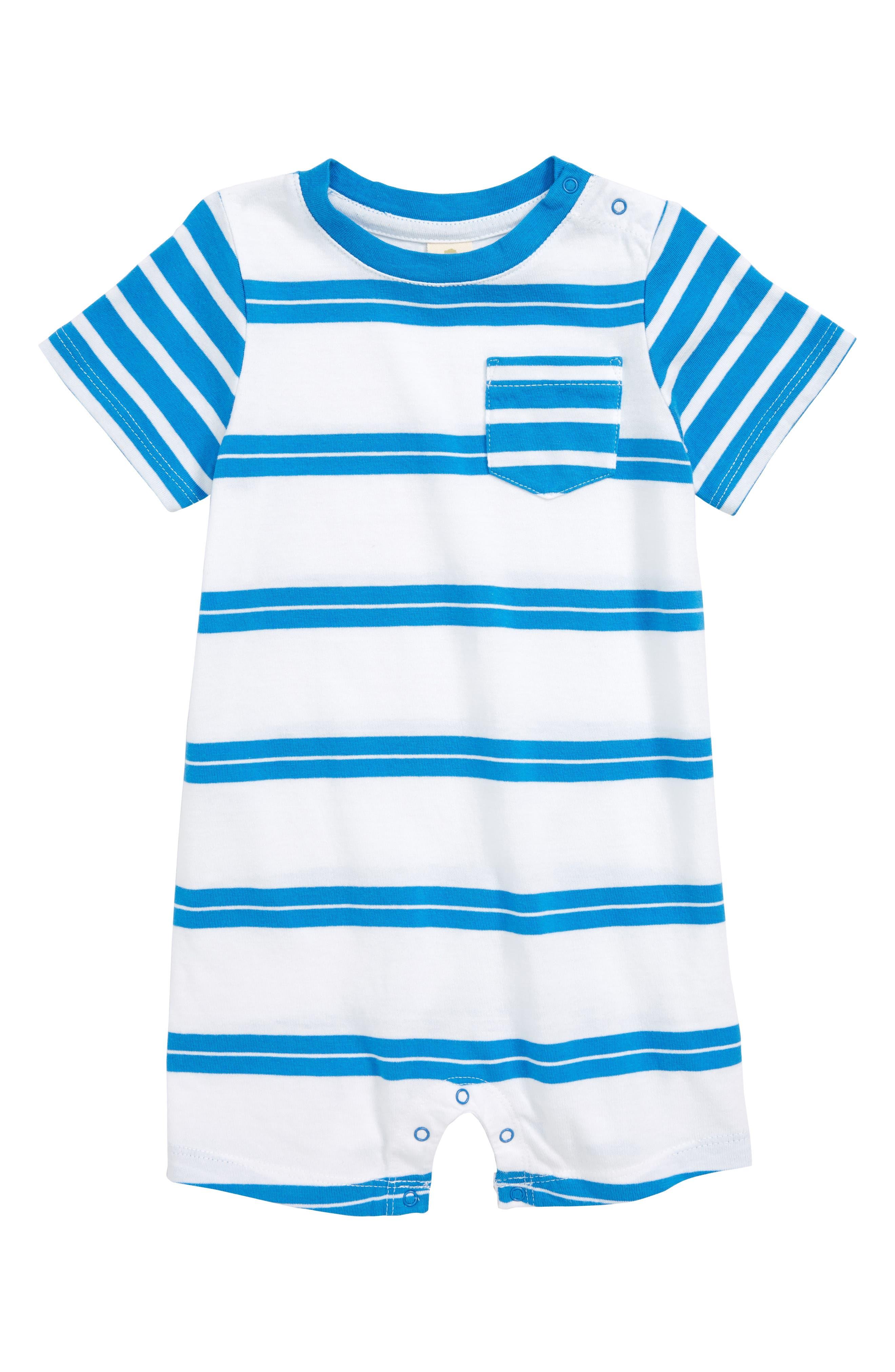 Mixed Stripe Cotton Romper,                             Main thumbnail 1, color,                             White- Blue Stripe
