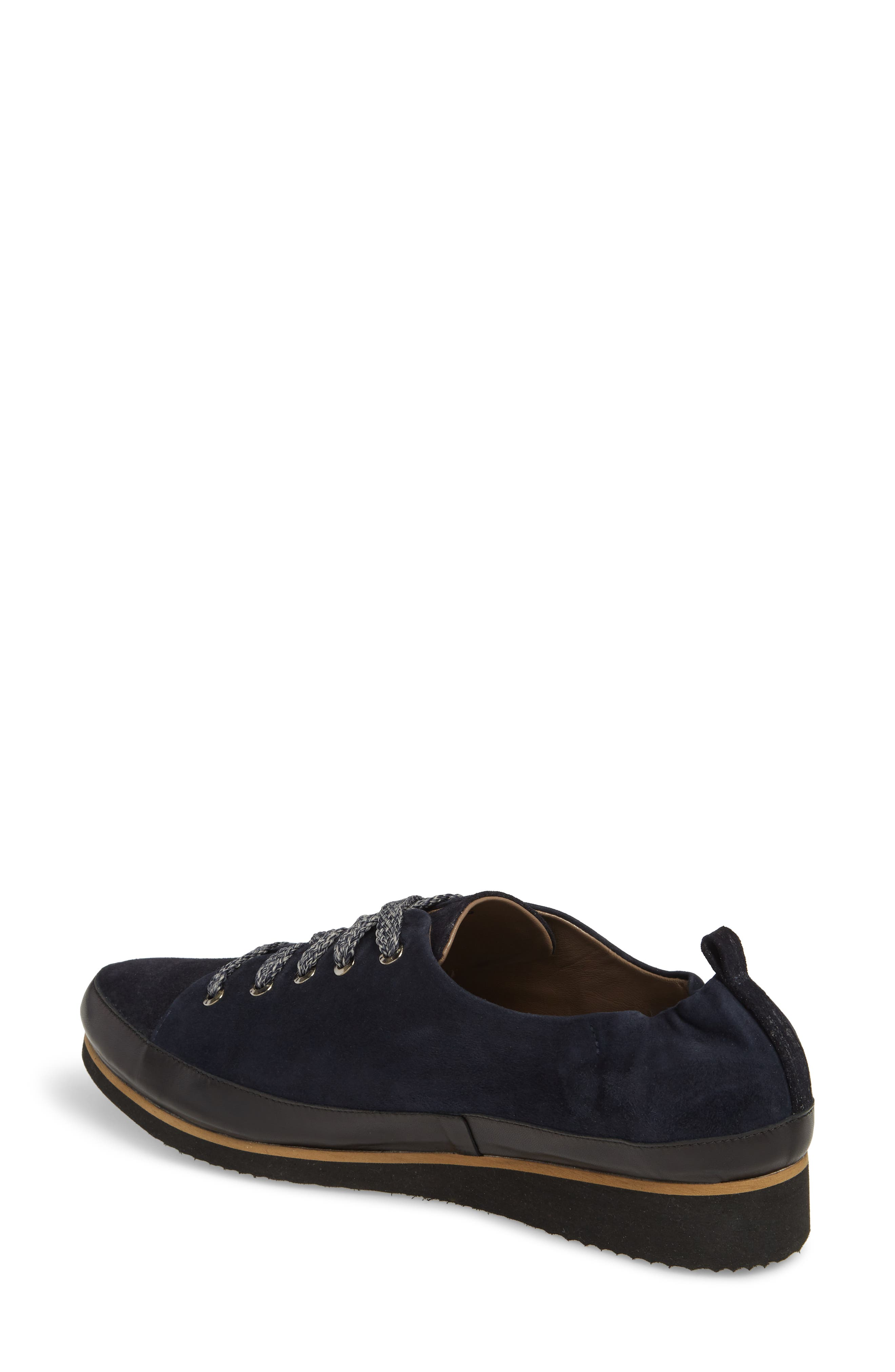 Nettie Lace-Up Wedge Sneaker,                             Alternate thumbnail 2, color,                             French Navy Leather