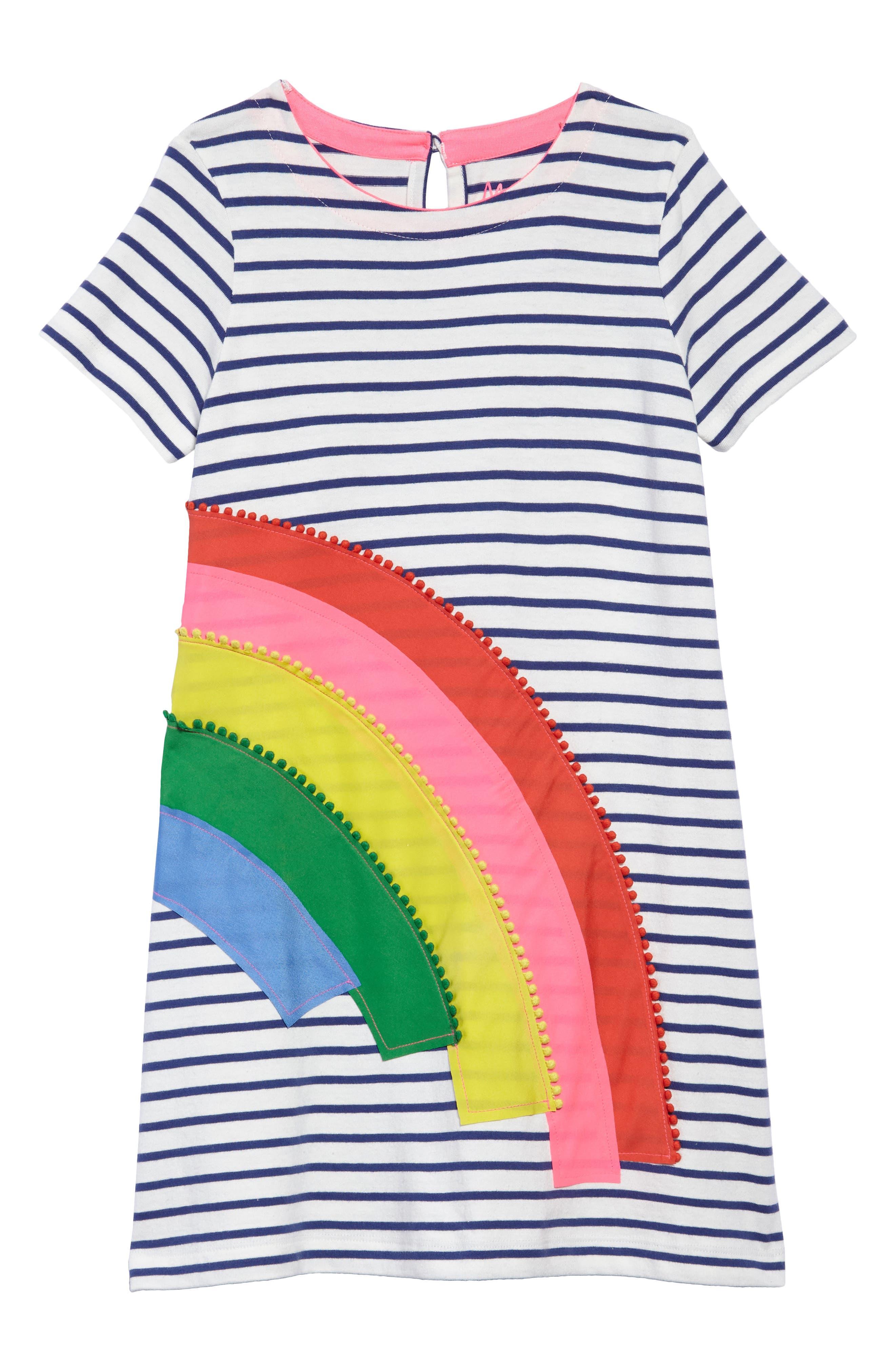 Rainbow Appliqué T-Shirt Dress,                         Main,                         color, Ivory/ Starboard Blue Rainbow