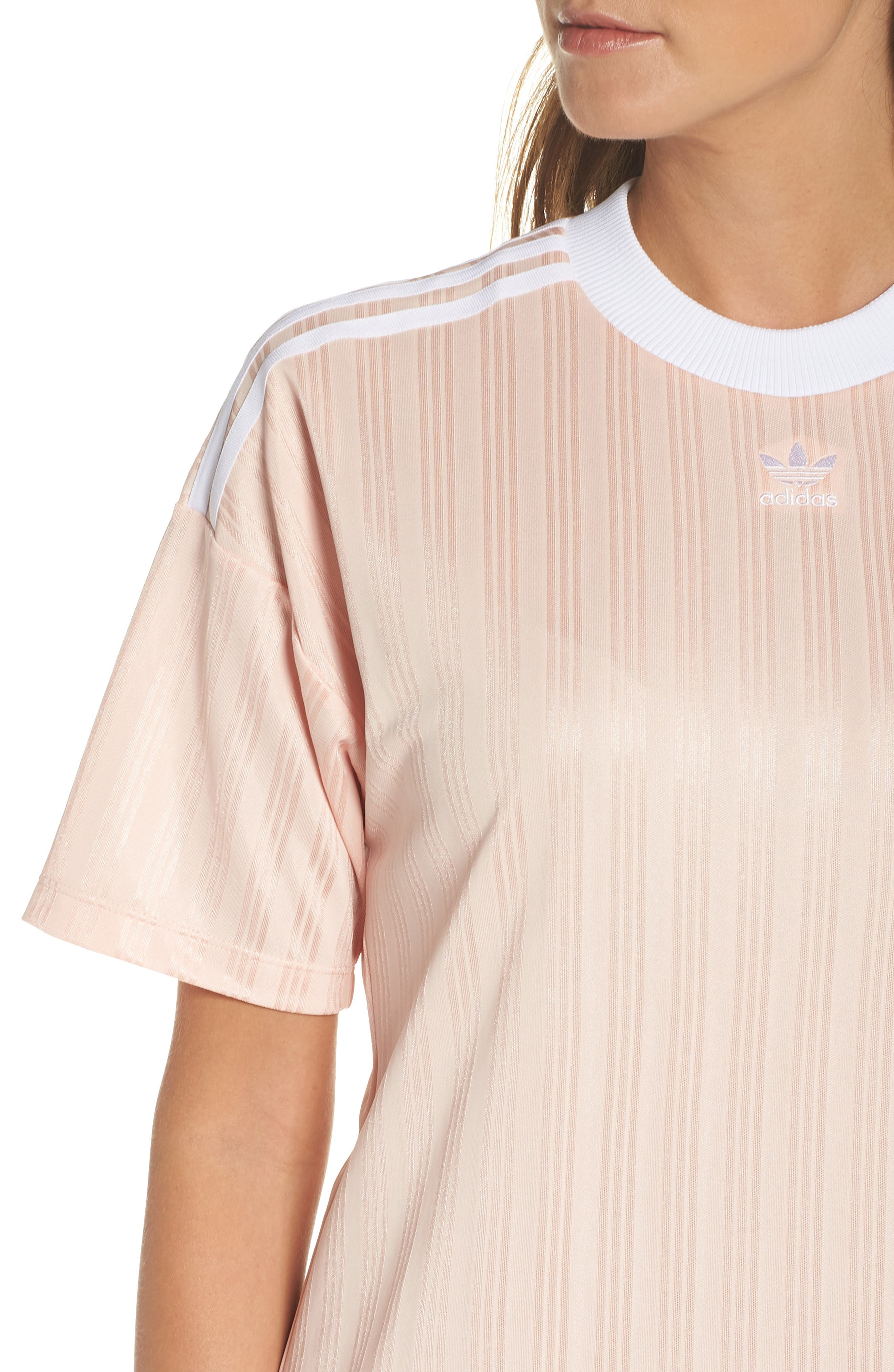 Originals Trefoil T-Shirt Dress,                             Alternate thumbnail 3, color,                             Blush Pink