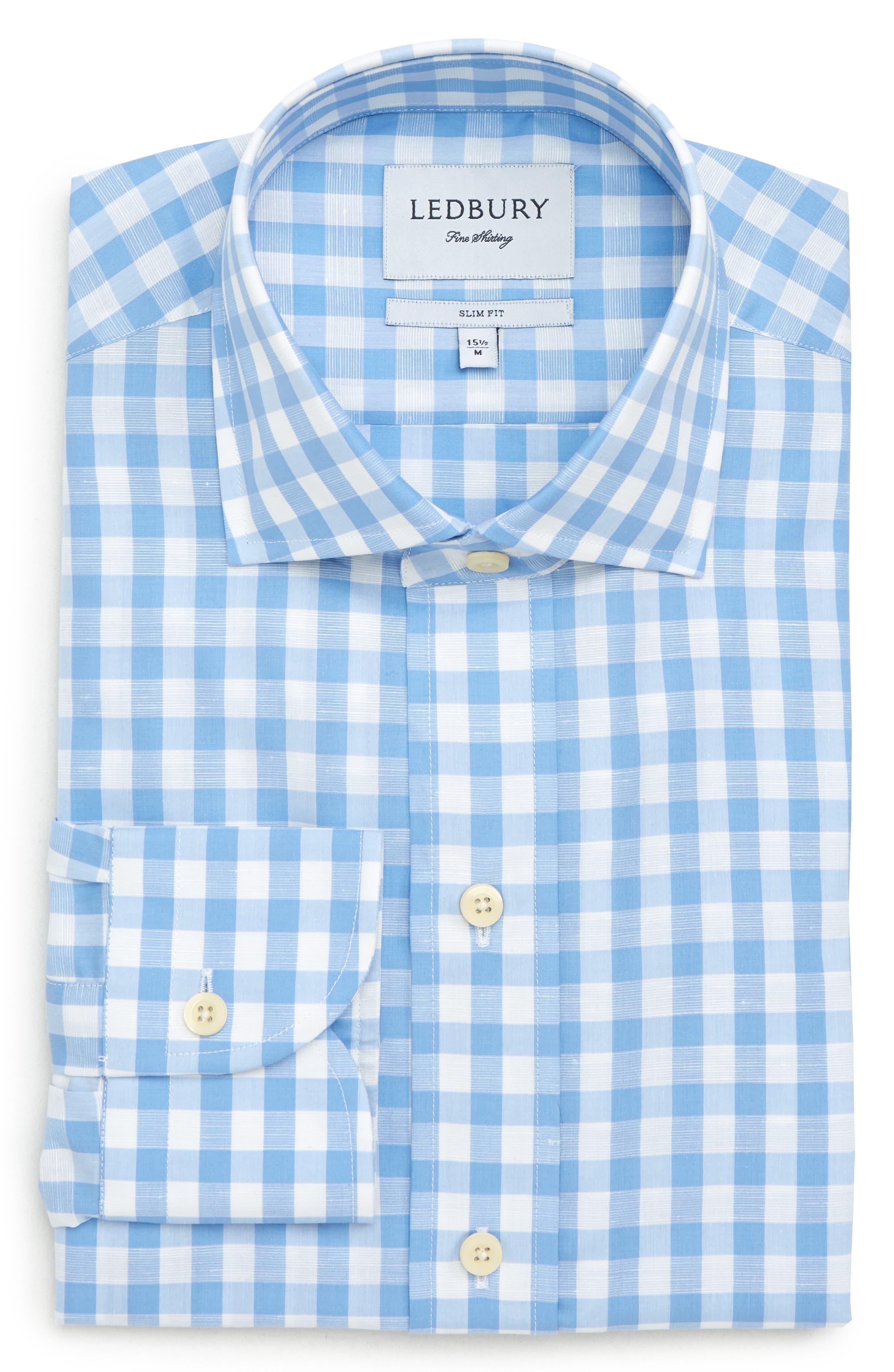 Slim Fit Winford Gingham Cotton & Linen Sport Shirt,                         Main,                         color, Blue