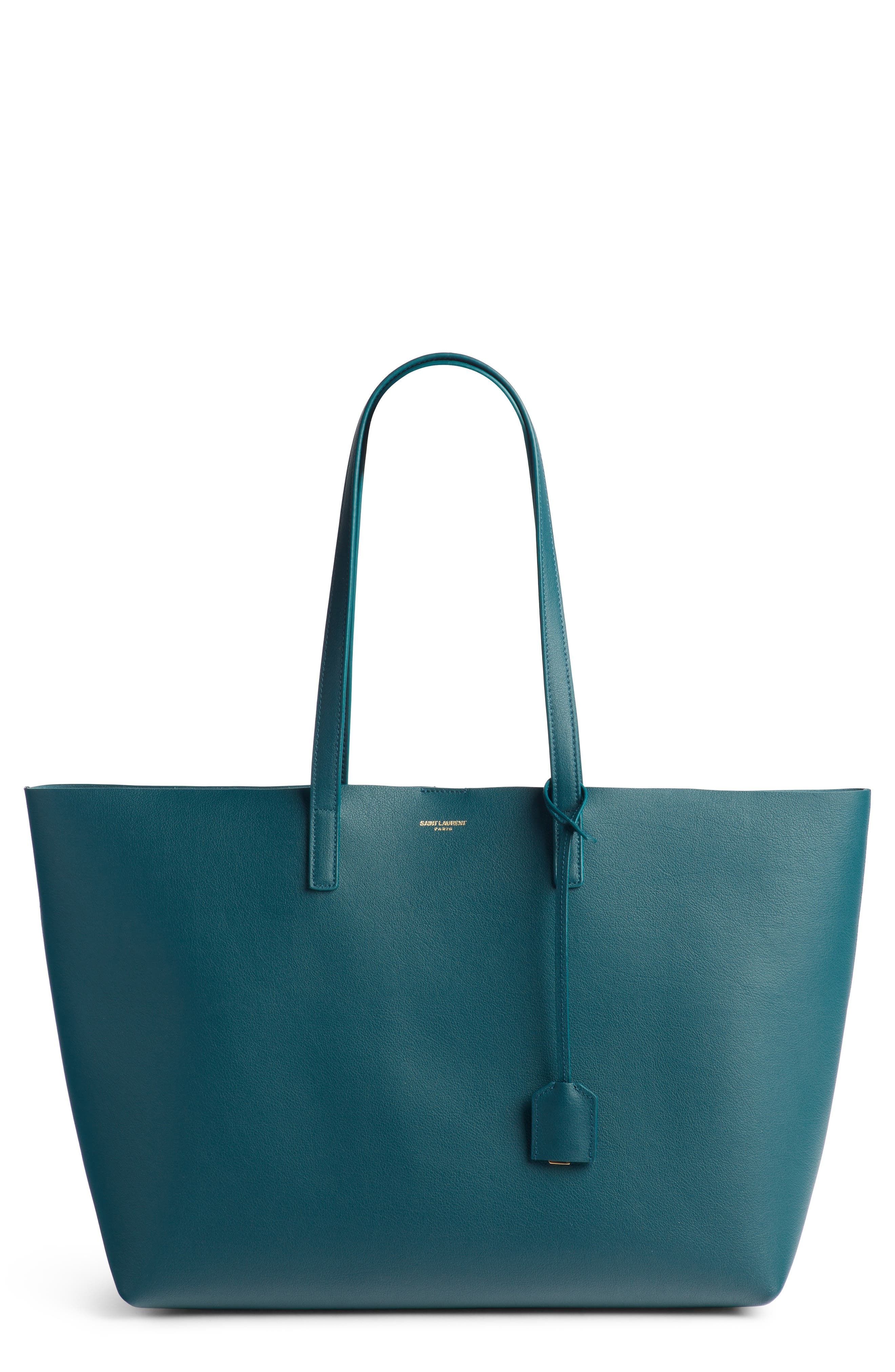 'Shopping' Leather Tote,                             Main thumbnail 1, color,                             Dark Turquoise