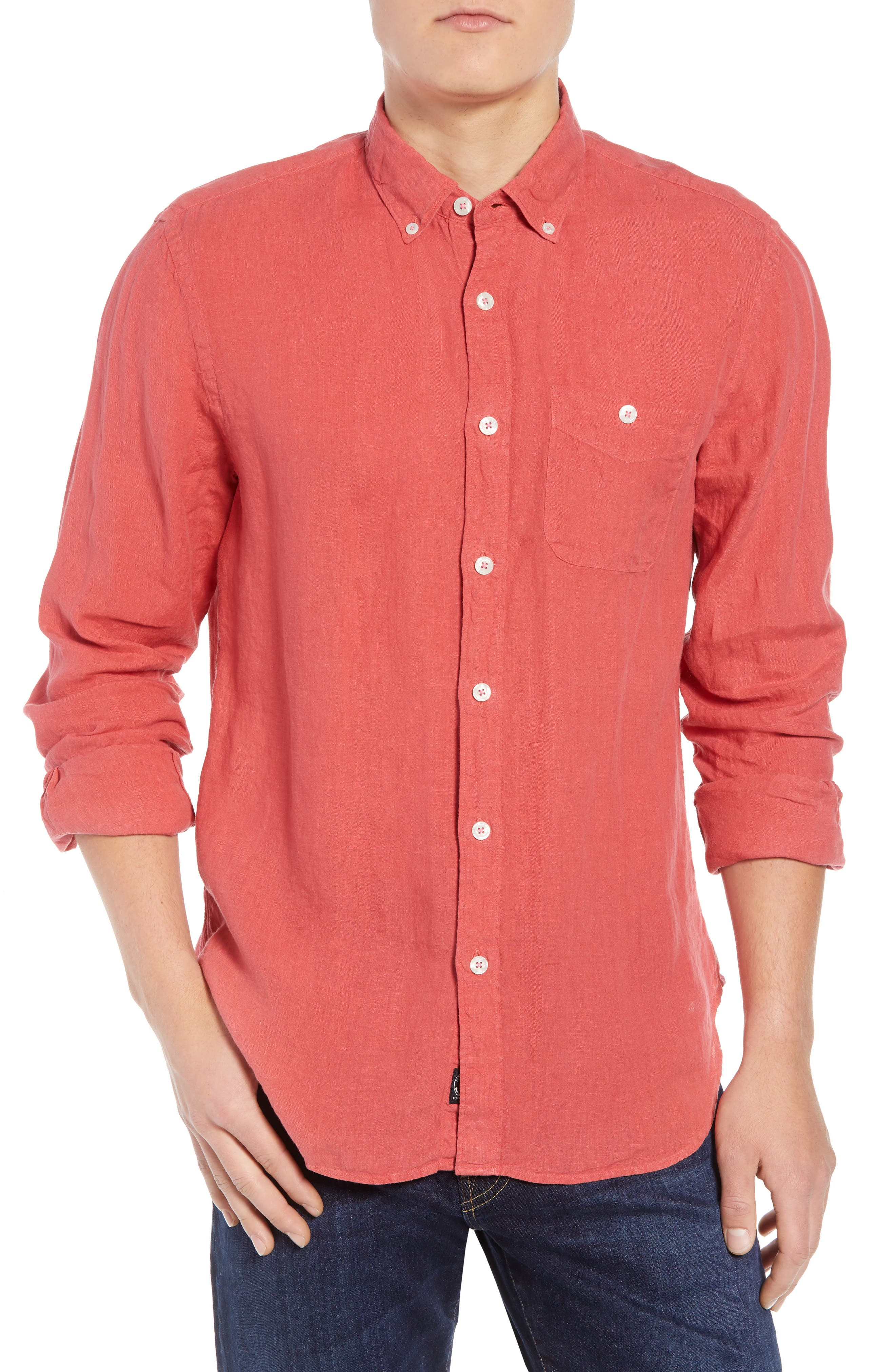 Regular Fit Linen Sport Shirt,                         Main,                         color, Bowery Red