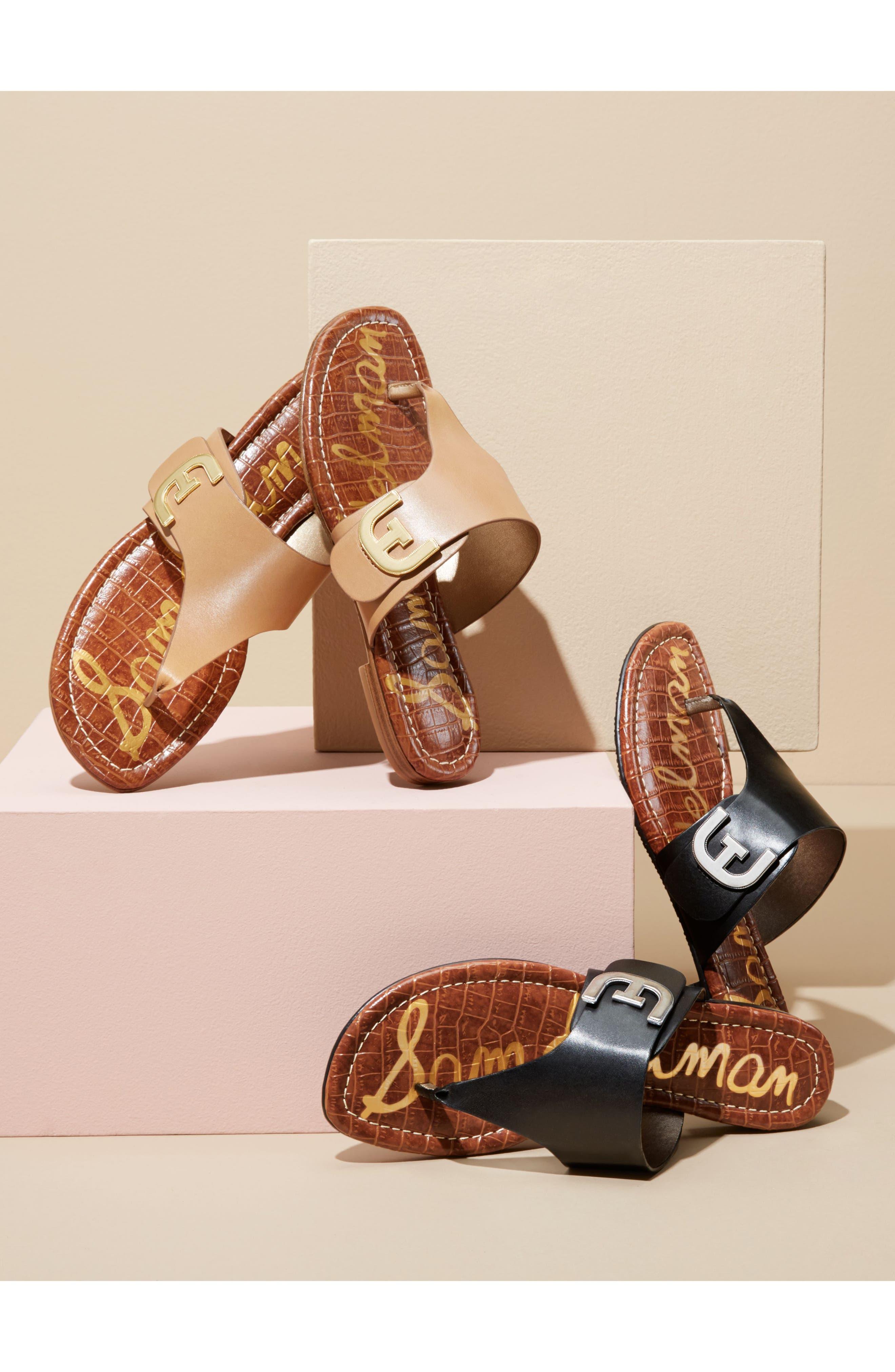 Barry V-Strap Thong Sandal,                             Alternate thumbnail 7, color,                             Black Leather