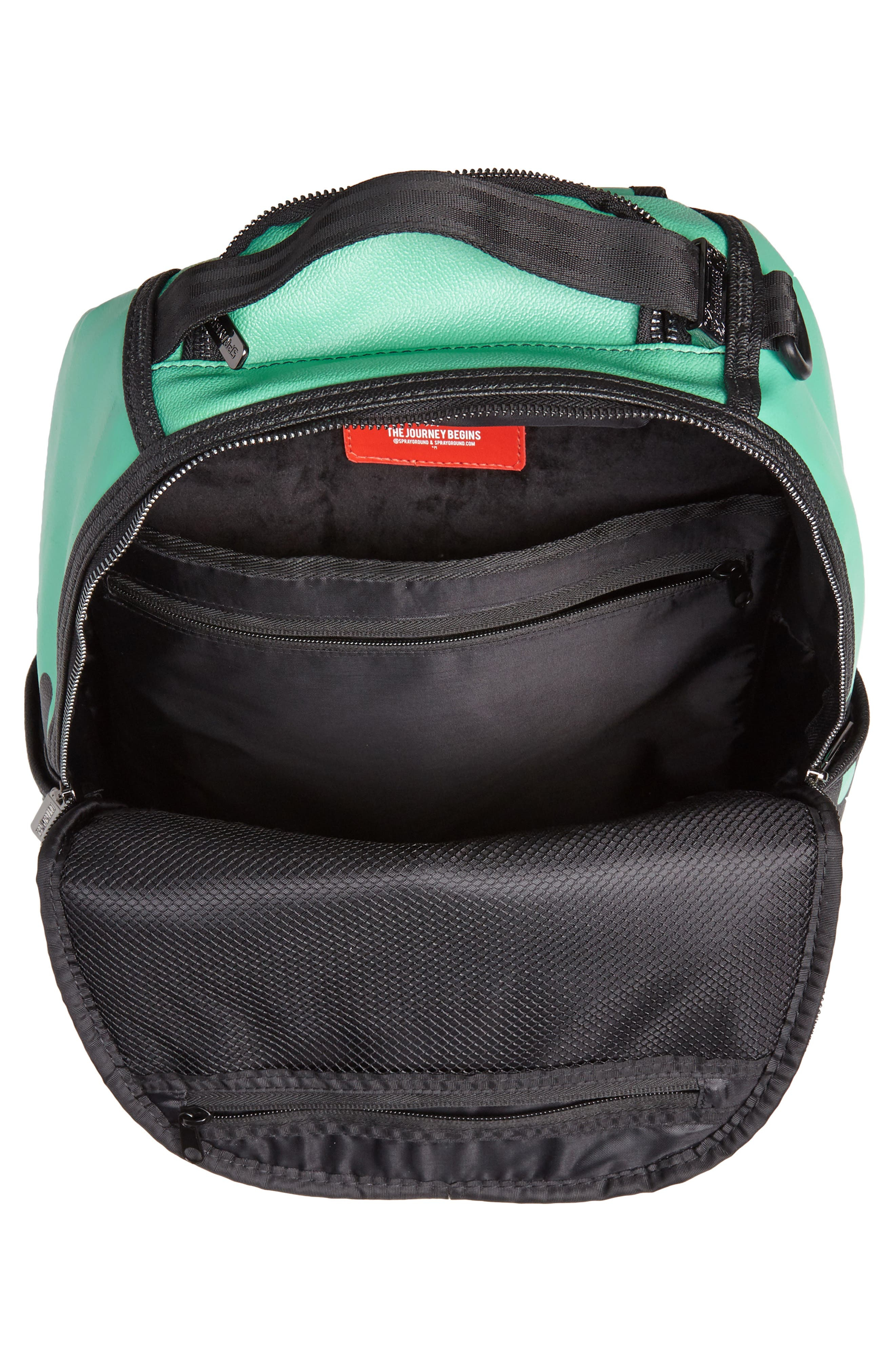 Tiff Drips Print Backpack,                             Alternate thumbnail 4, color,                             Camo/ Teal