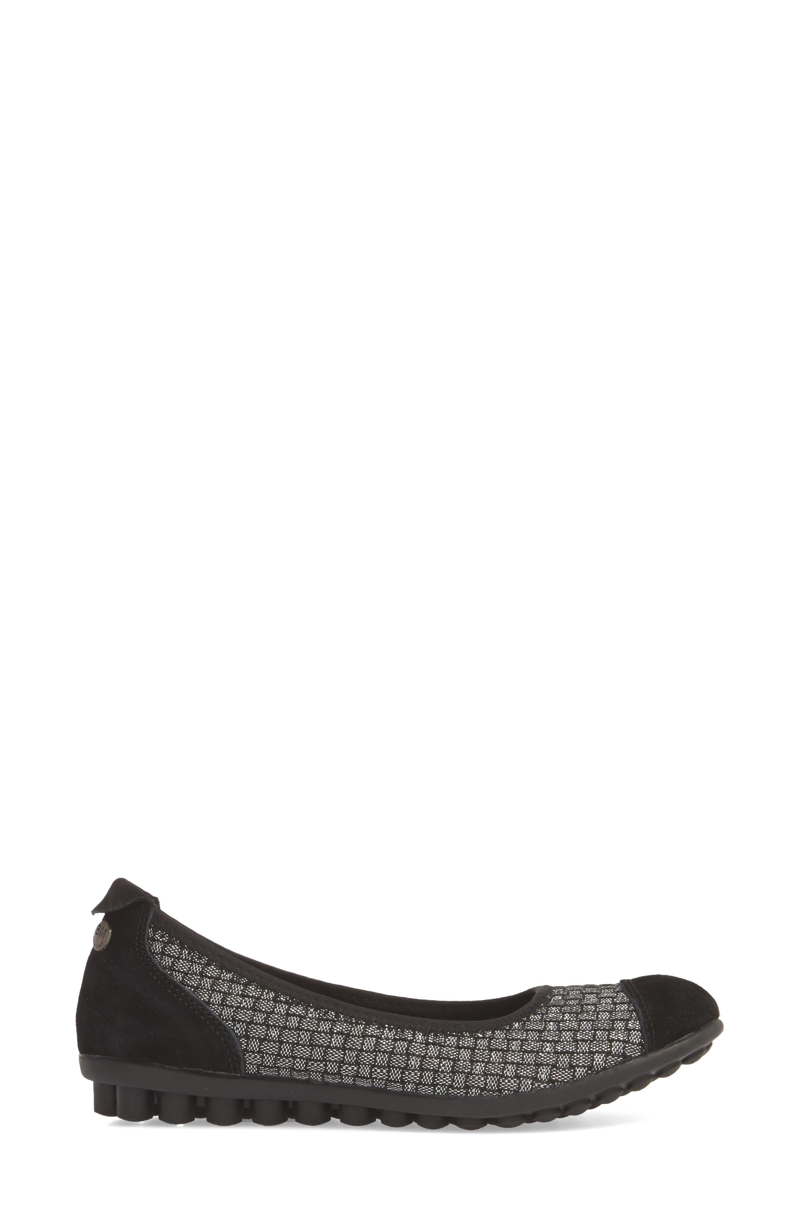 'Bella Me' Woven Flat,                             Alternate thumbnail 4, color,                             Black Shimmer Fabric