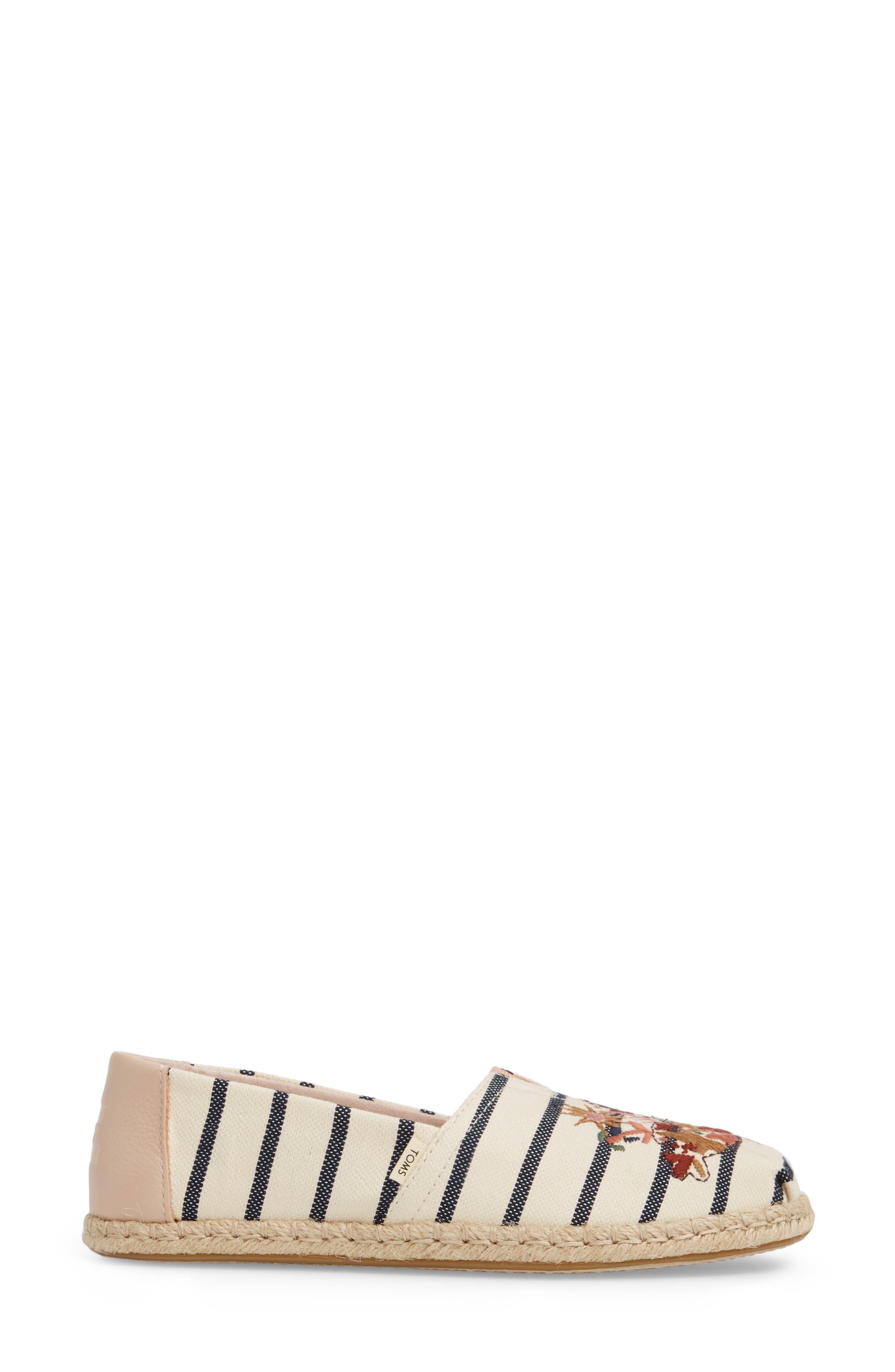 Alpargata Stripe Espadrille,                             Alternate thumbnail 6, color,                             Floral Embroidery Woven Stripe