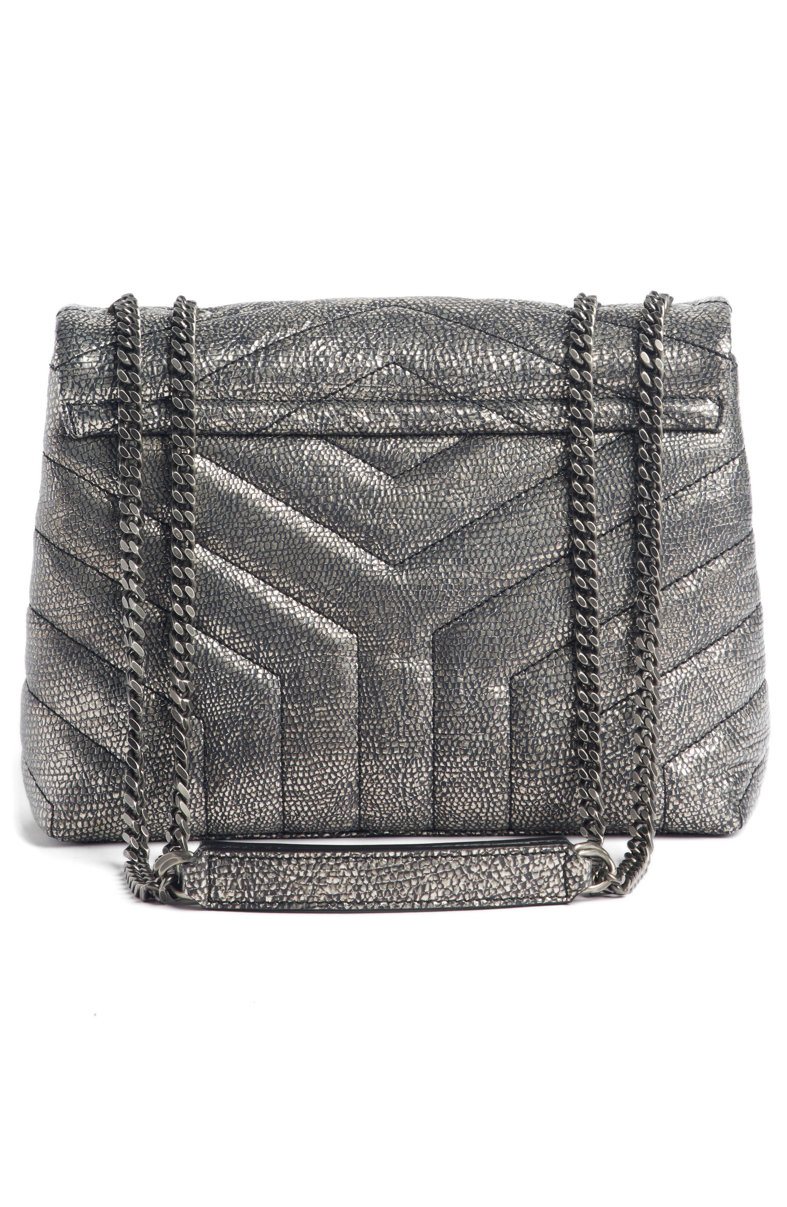 Loulou Small Metallic Leather Shoulder Bag,                             Alternate thumbnail 4, color,                             Graphtie