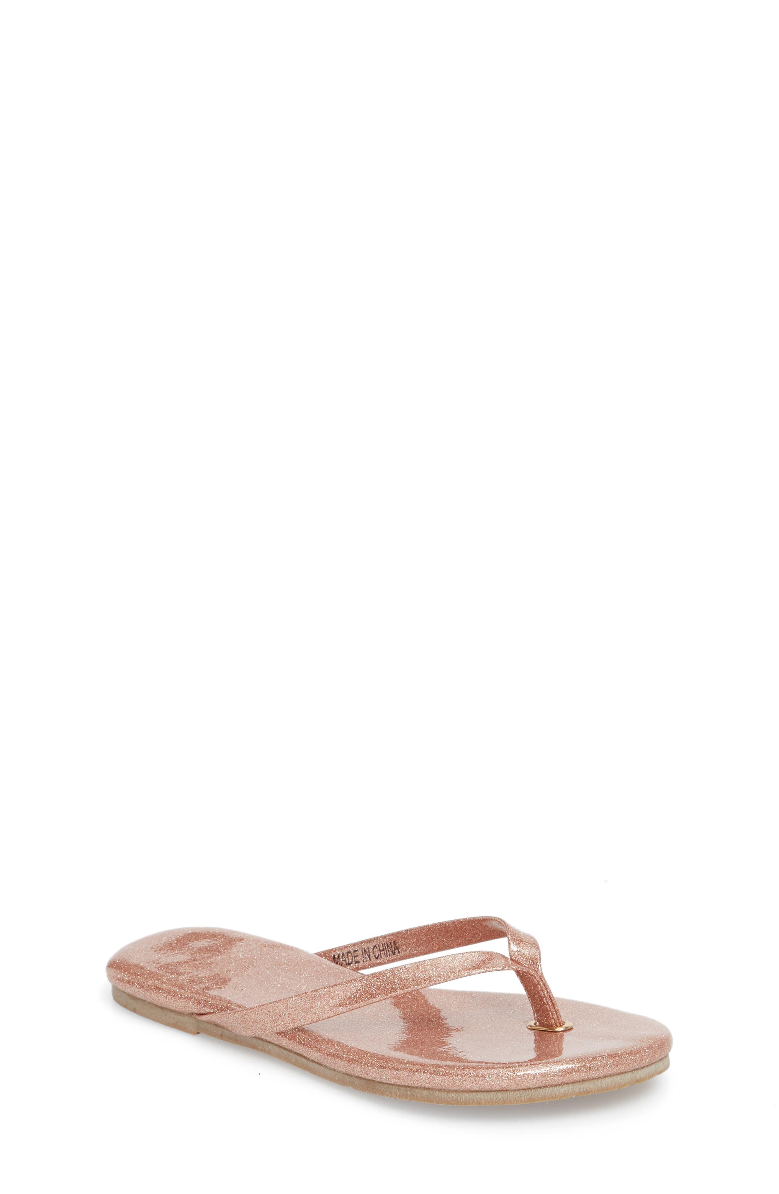 Rivington Flip Flop,                             Main thumbnail 1, color,                             Light Pink Patent Glitter