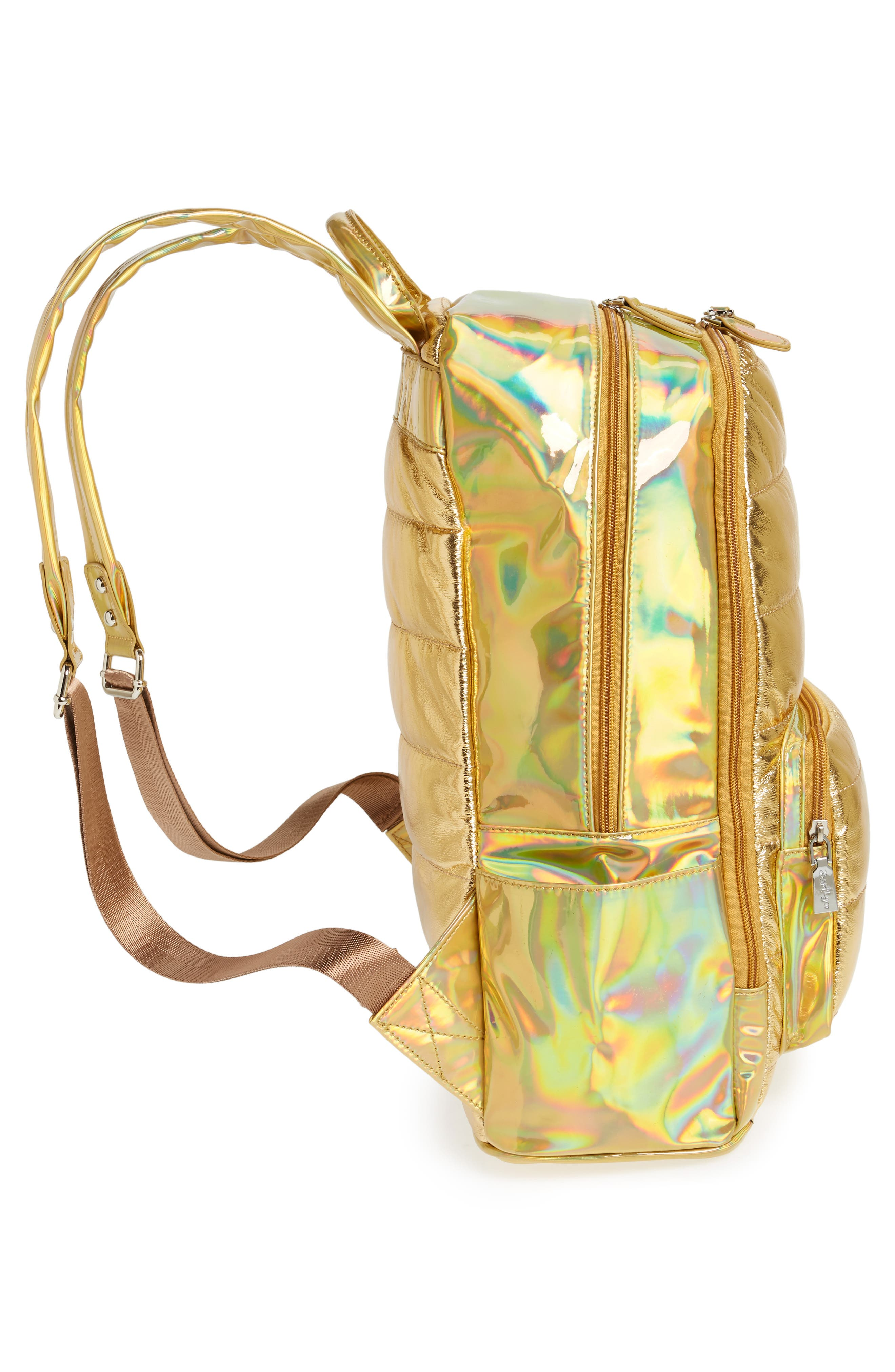 Quilted Metallic Holographic Backpack,                             Alternate thumbnail 3, color,                             Gold