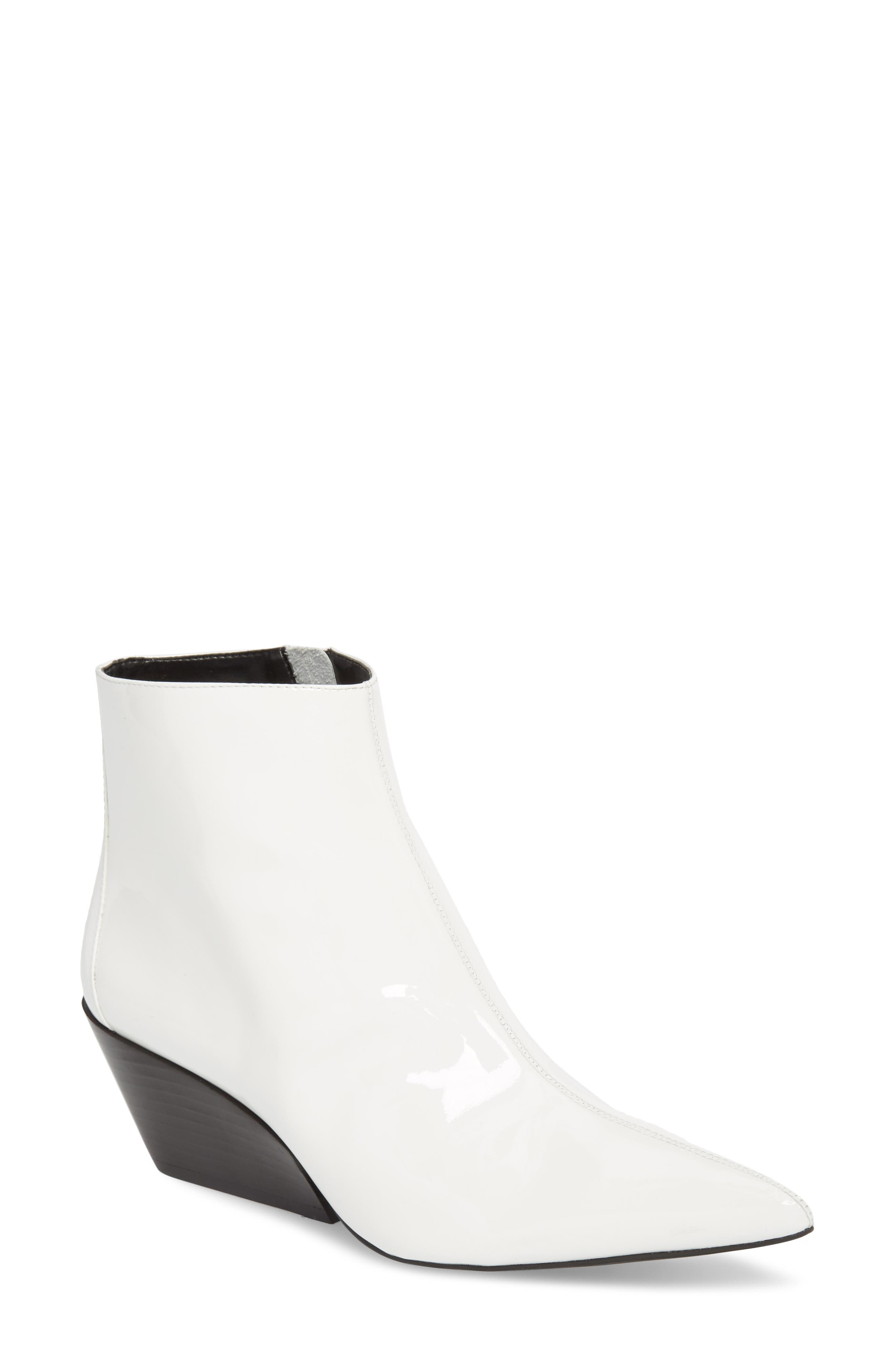 Freda Pointy Toe Bootie,                             Main thumbnail 1, color,                             White Patent