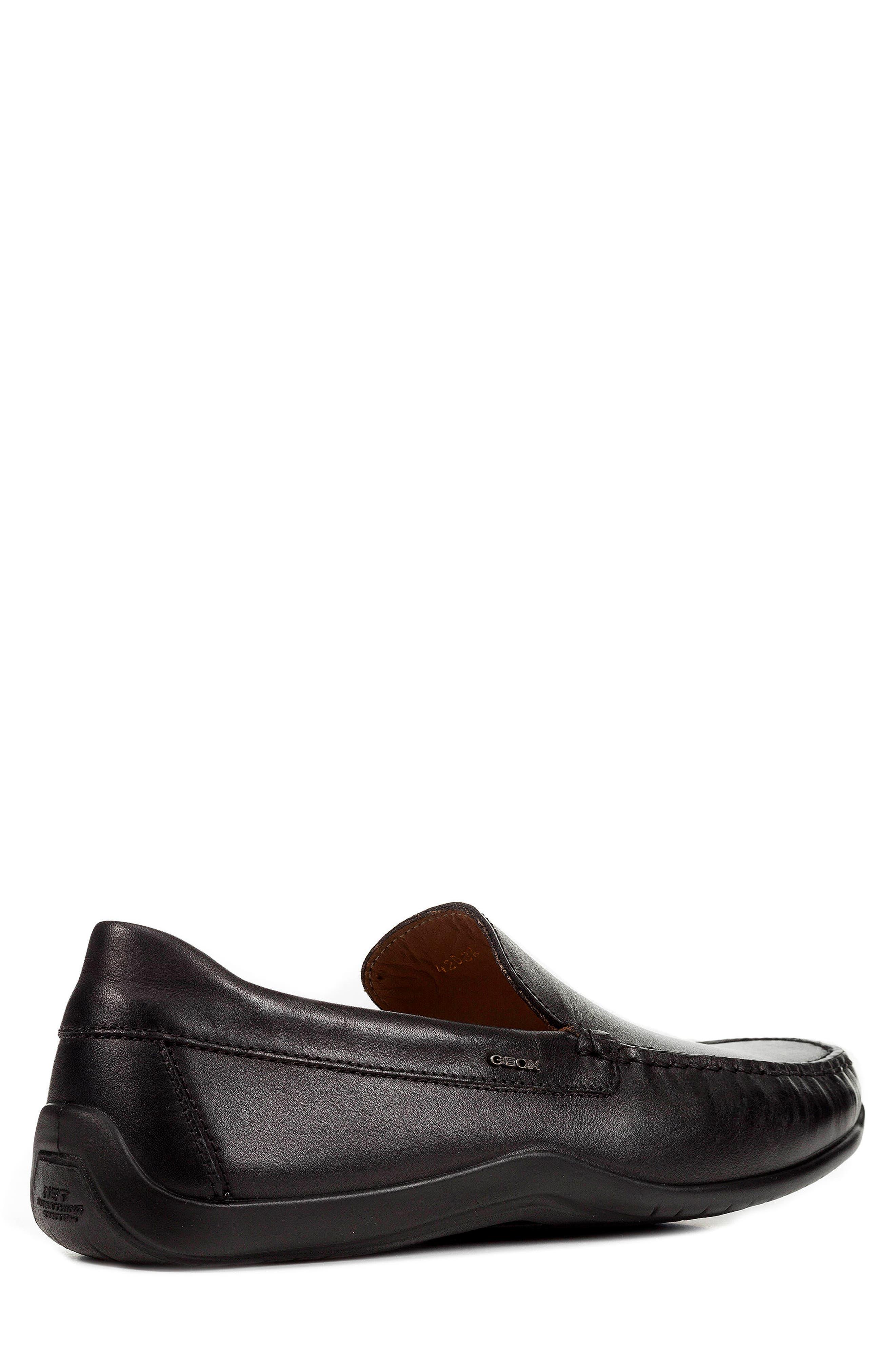 'U Xense Mox' Driving Shoe,                             Alternate thumbnail 2, color,                             Black Leather