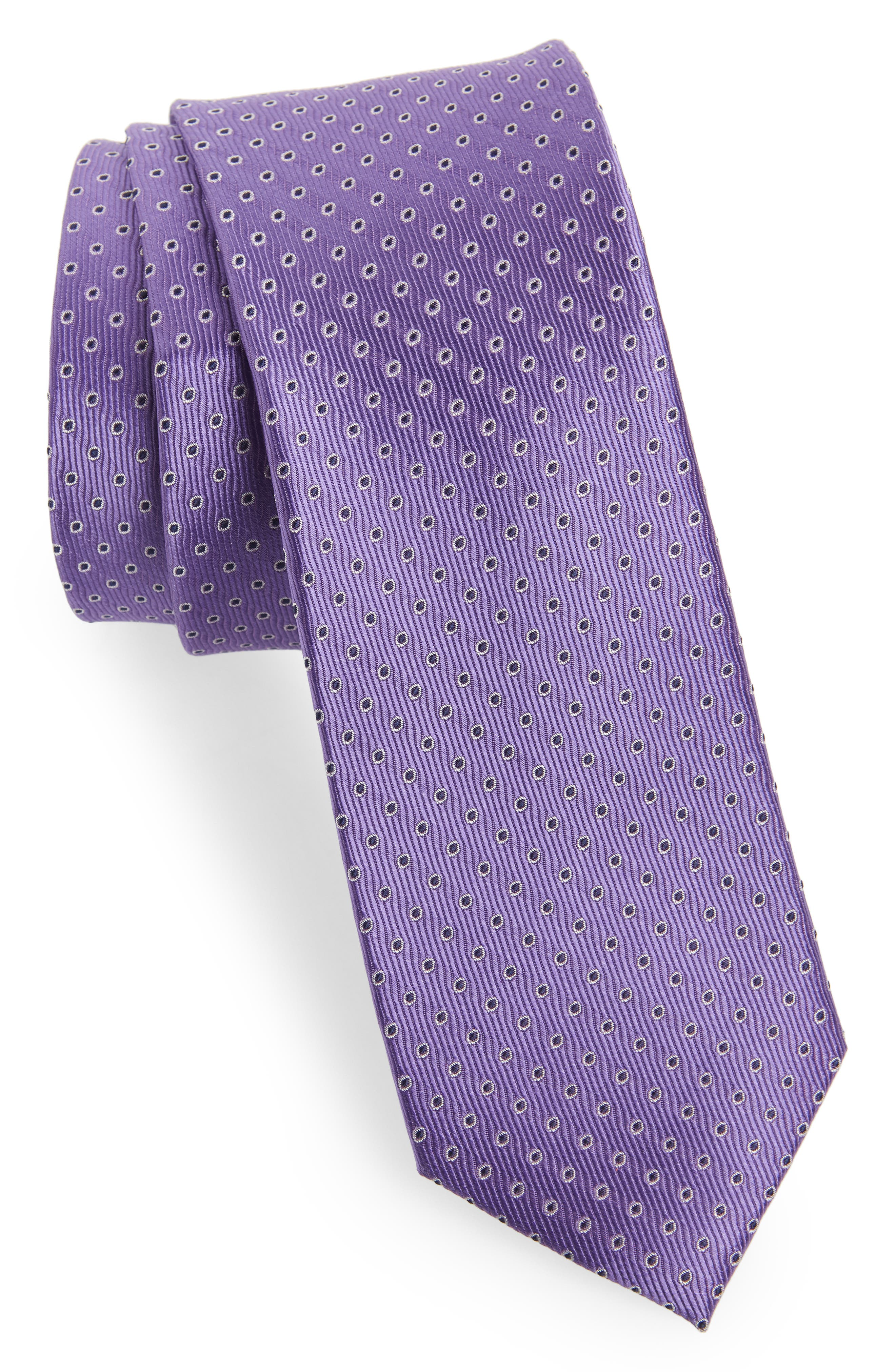 Newport Dot Silk Tie,                         Main,                         color, Lilac