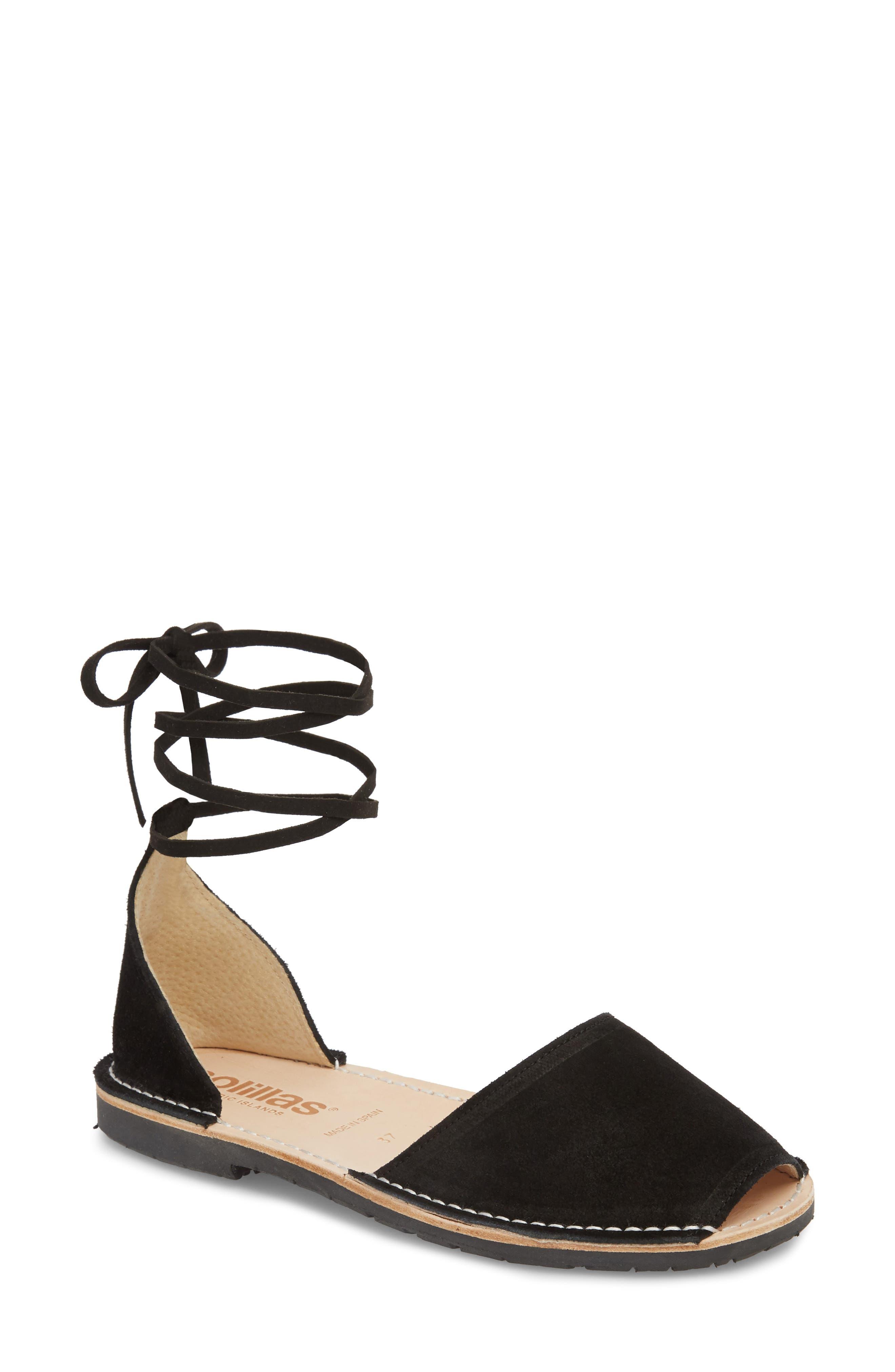 Ankle Tie Sandal,                             Main thumbnail 1, color,                             Black