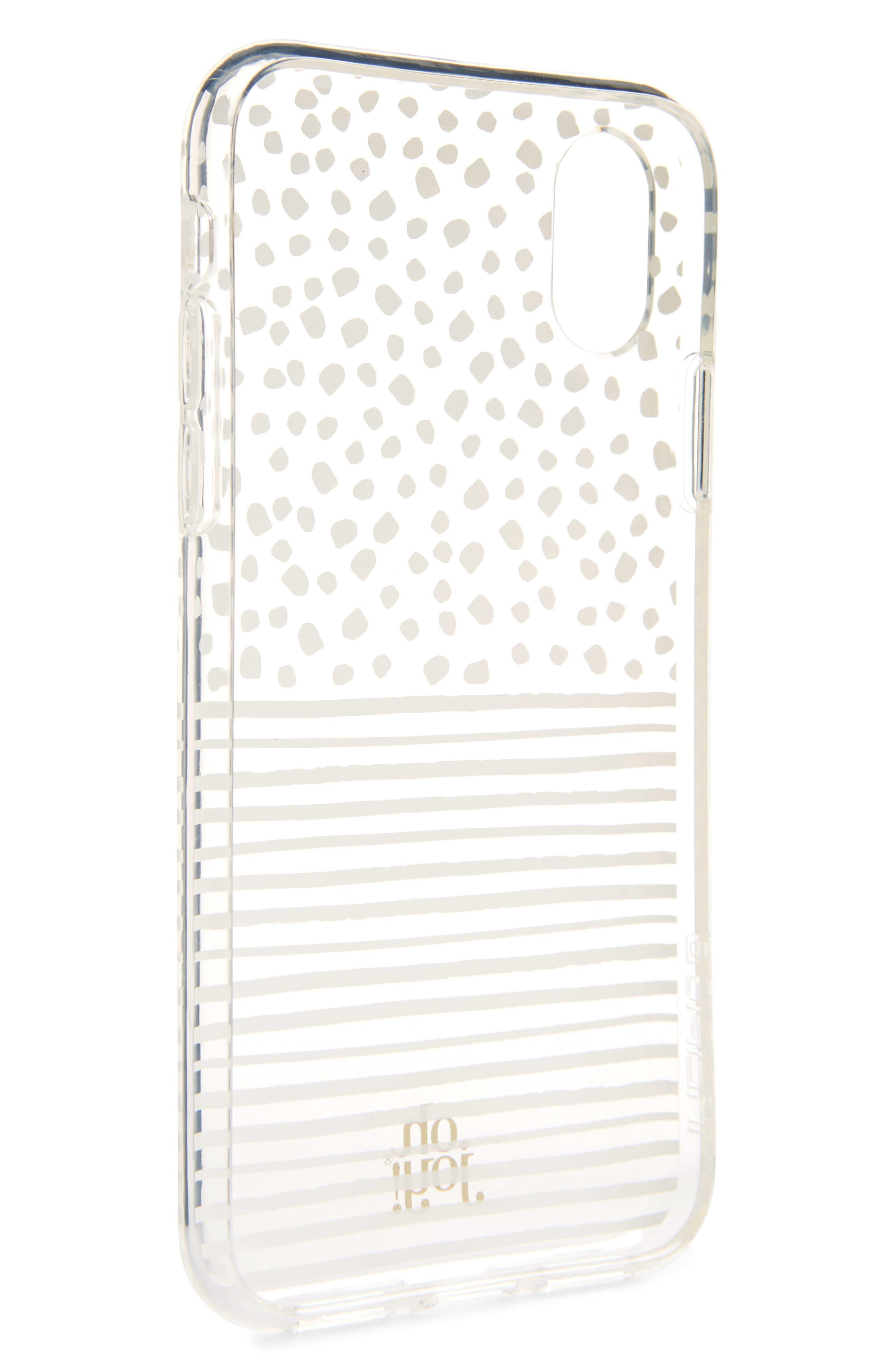 Oh Joy Dots & Stripes iPhone X Case,                             Alternate thumbnail 2, color,                             White/ Clear