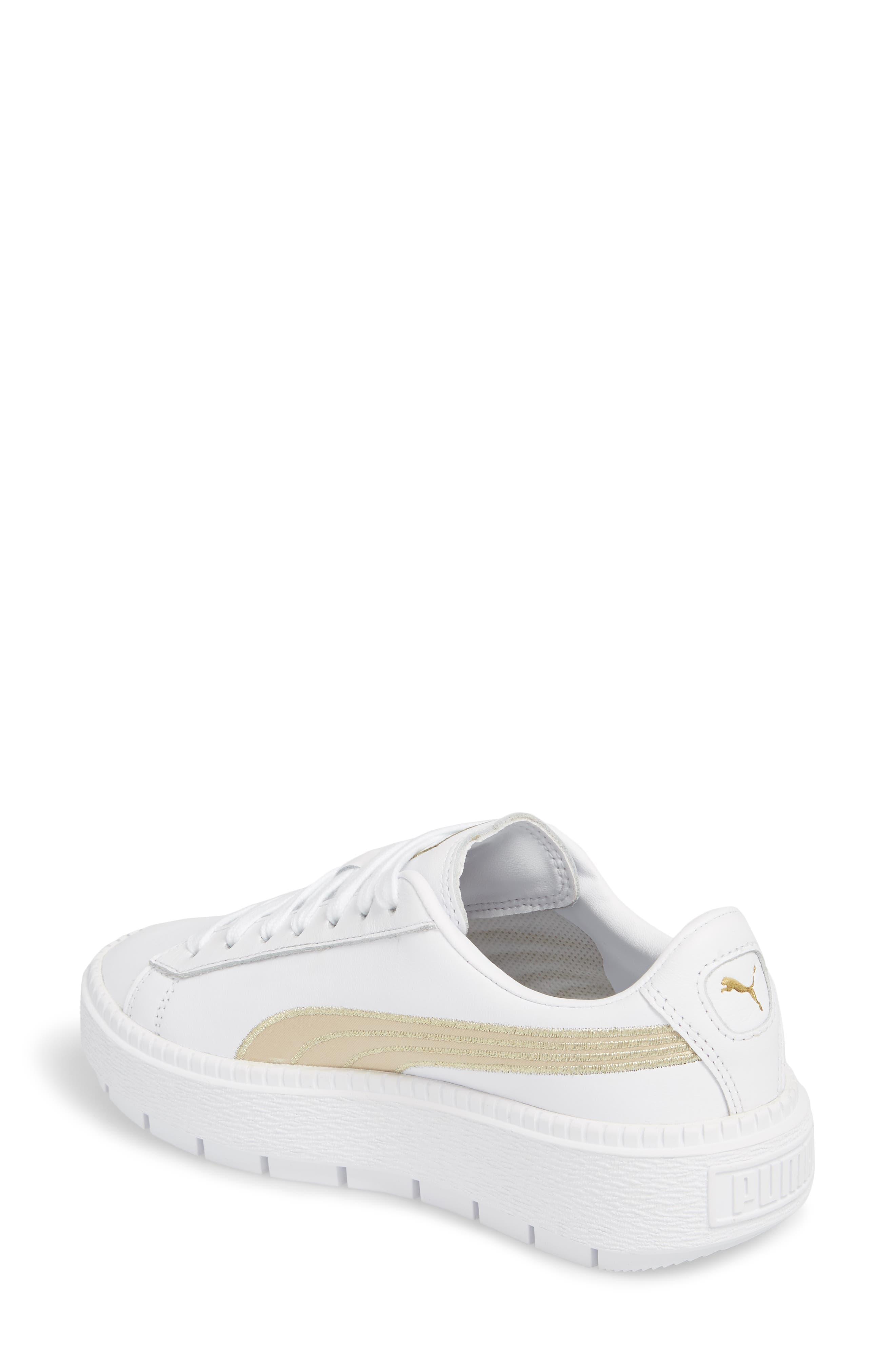 Platform Trace Sneaker,                             Alternate thumbnail 2, color,                             Puma White/ Metallic Gold